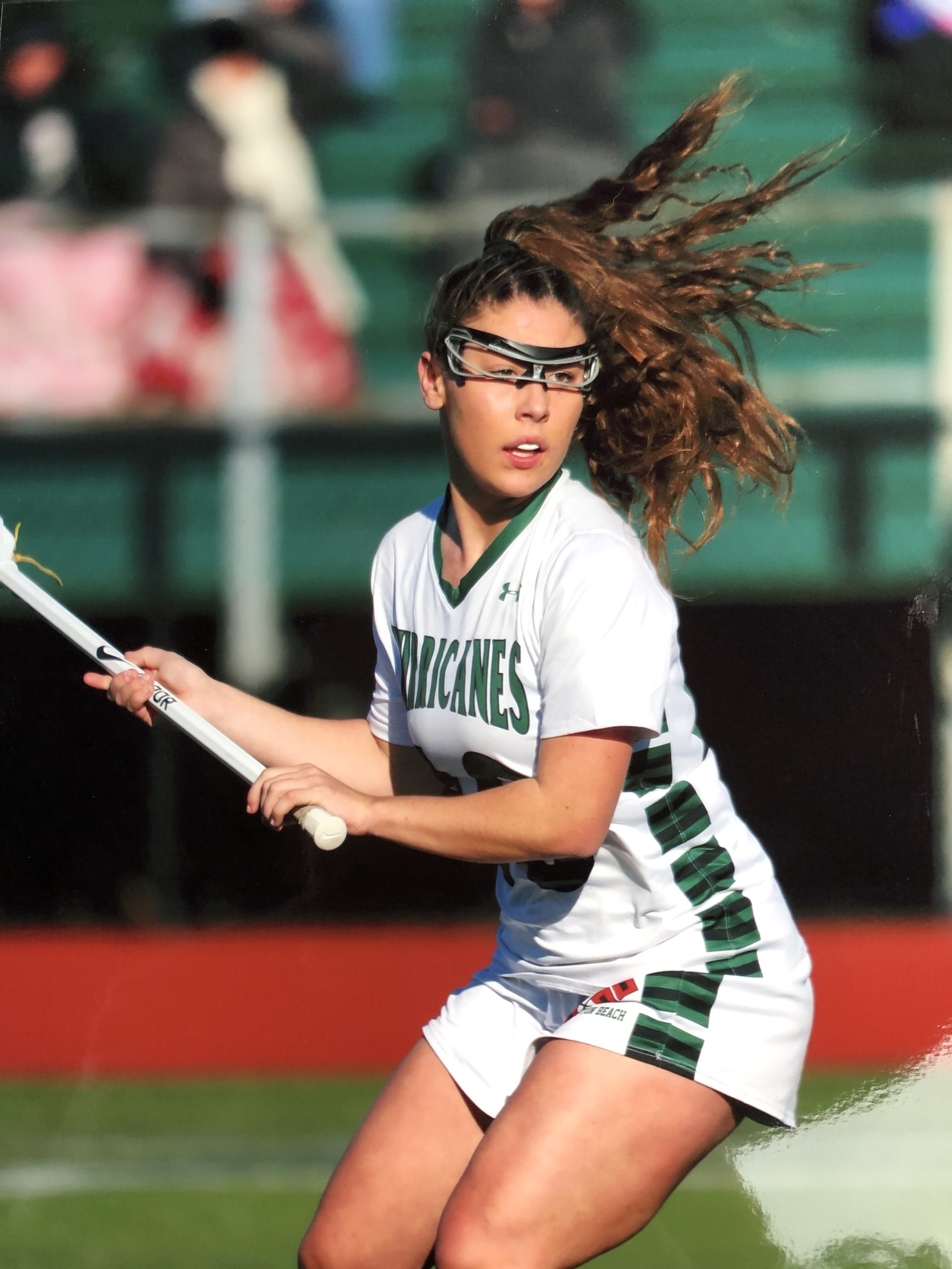 Maureen Duffy in action for Westhampton Beach High School's lacrosse team.