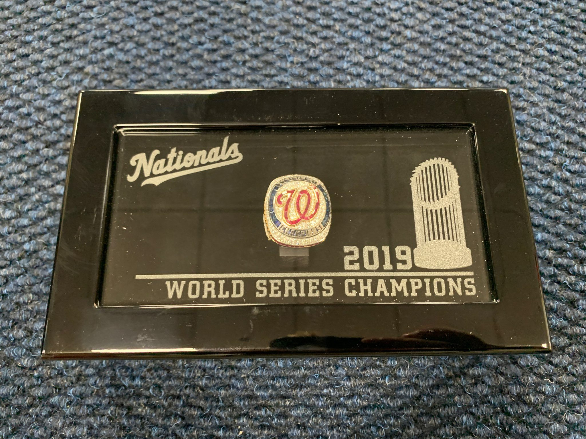 Kyle McGowin's World Series ring in its box.