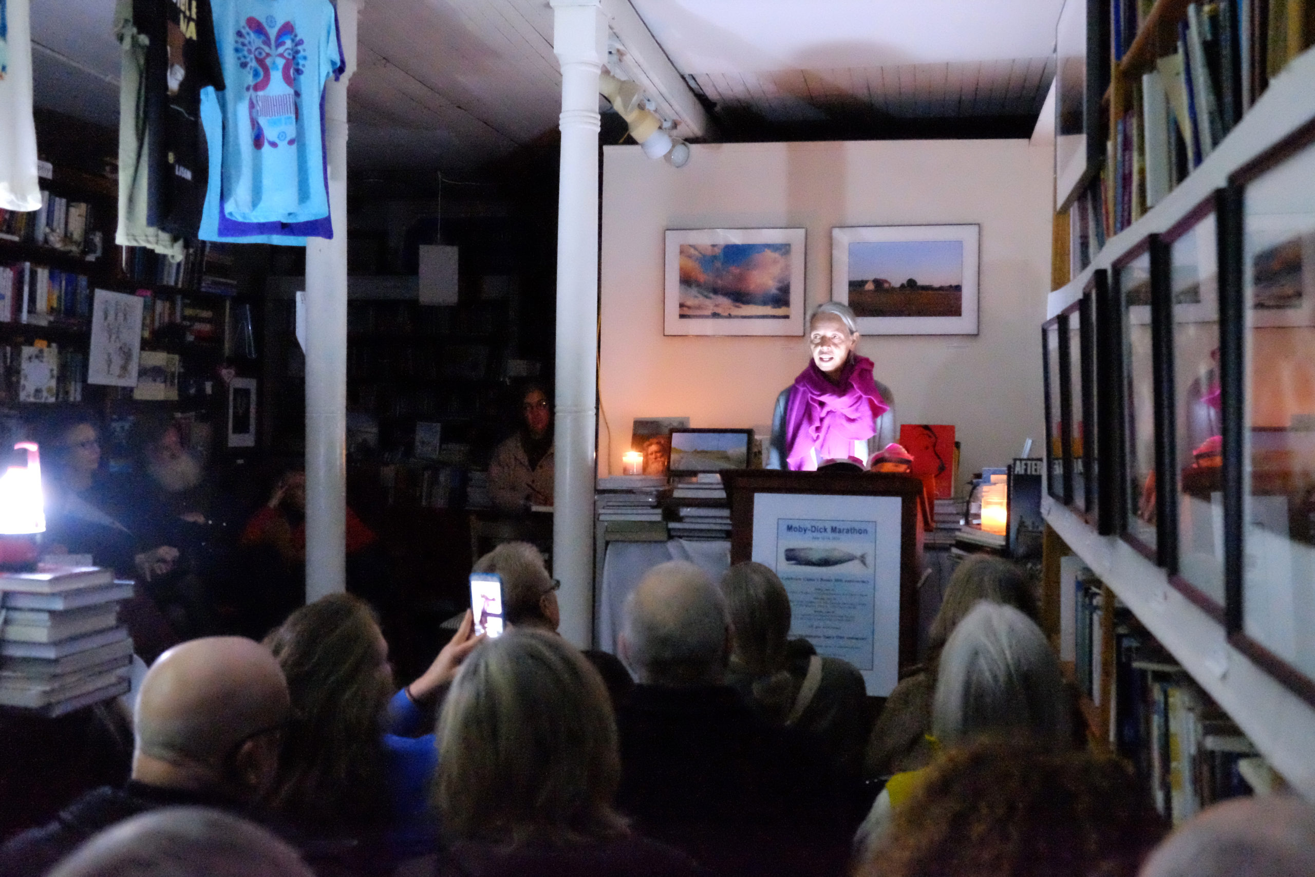 A power failure did not deter Megan Chaskey from her reading at Canio's in January 2016. KATHRYN SZOKA