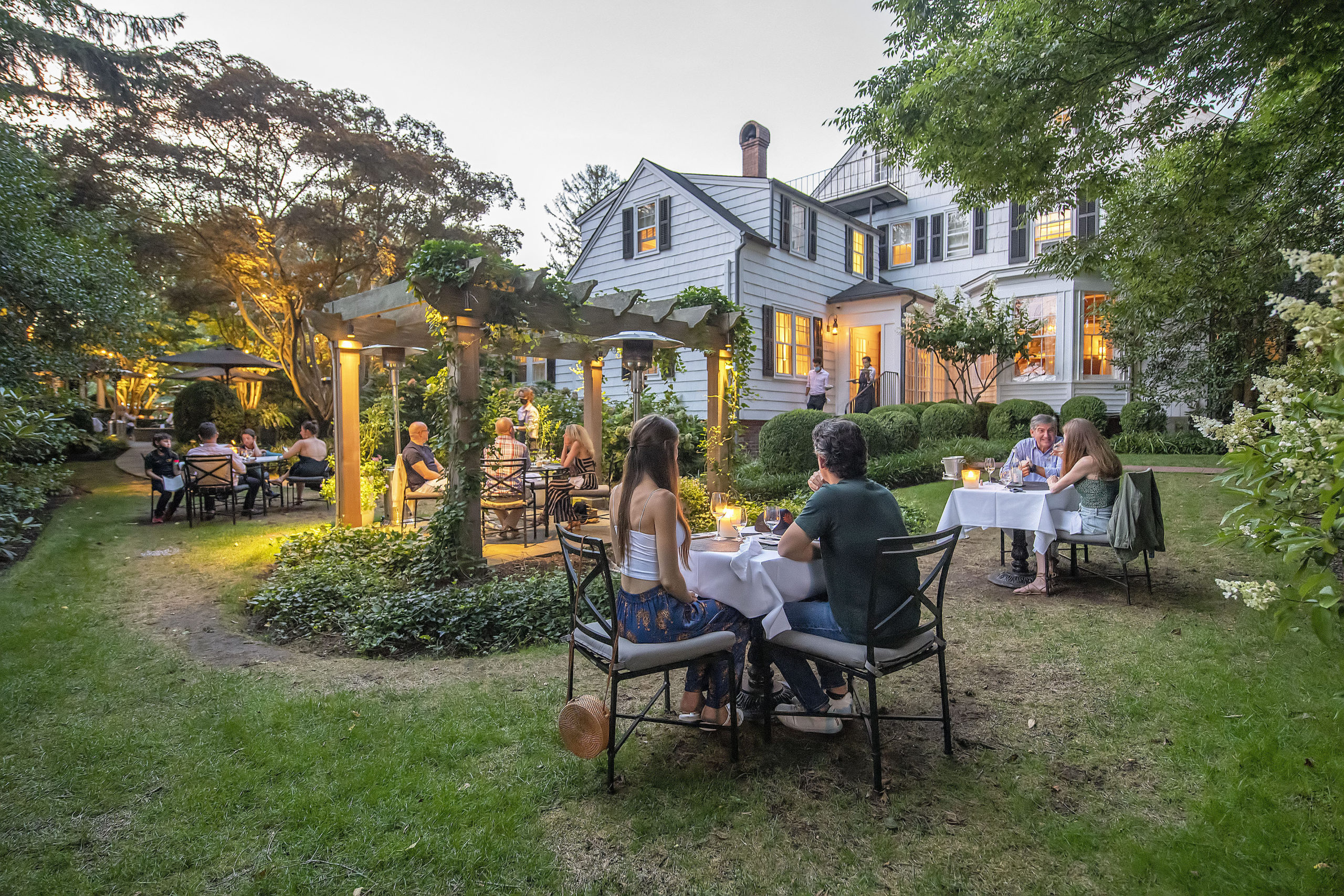The outdoor dining space in the gardens behind the 1770 House restaurant in East Hampton created in response to the COVID-19 pandemic.  MICHAEL HELLER