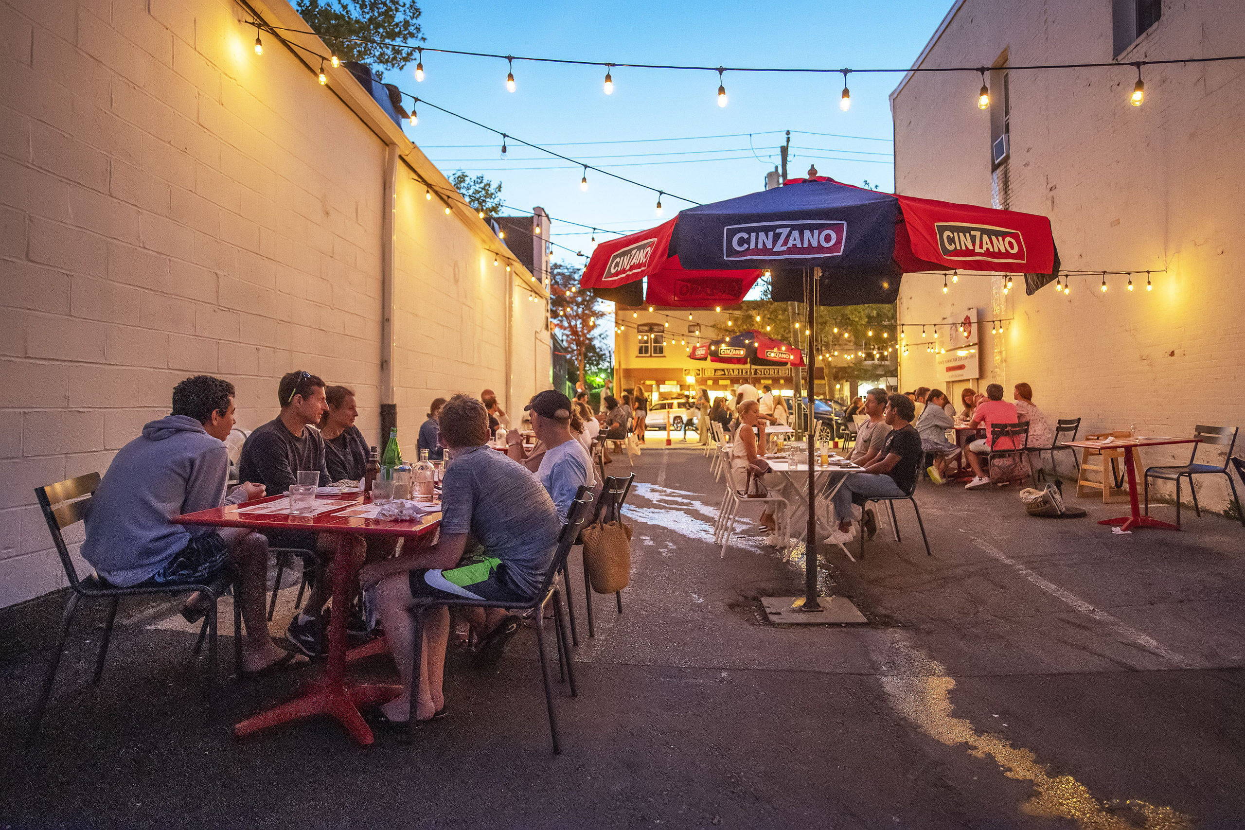 The outdoor dining space in the alley adjacent to Sag Pizza in Sag Harbor created in response to the COVID-19 pandemic.    MICHAEL HELLER