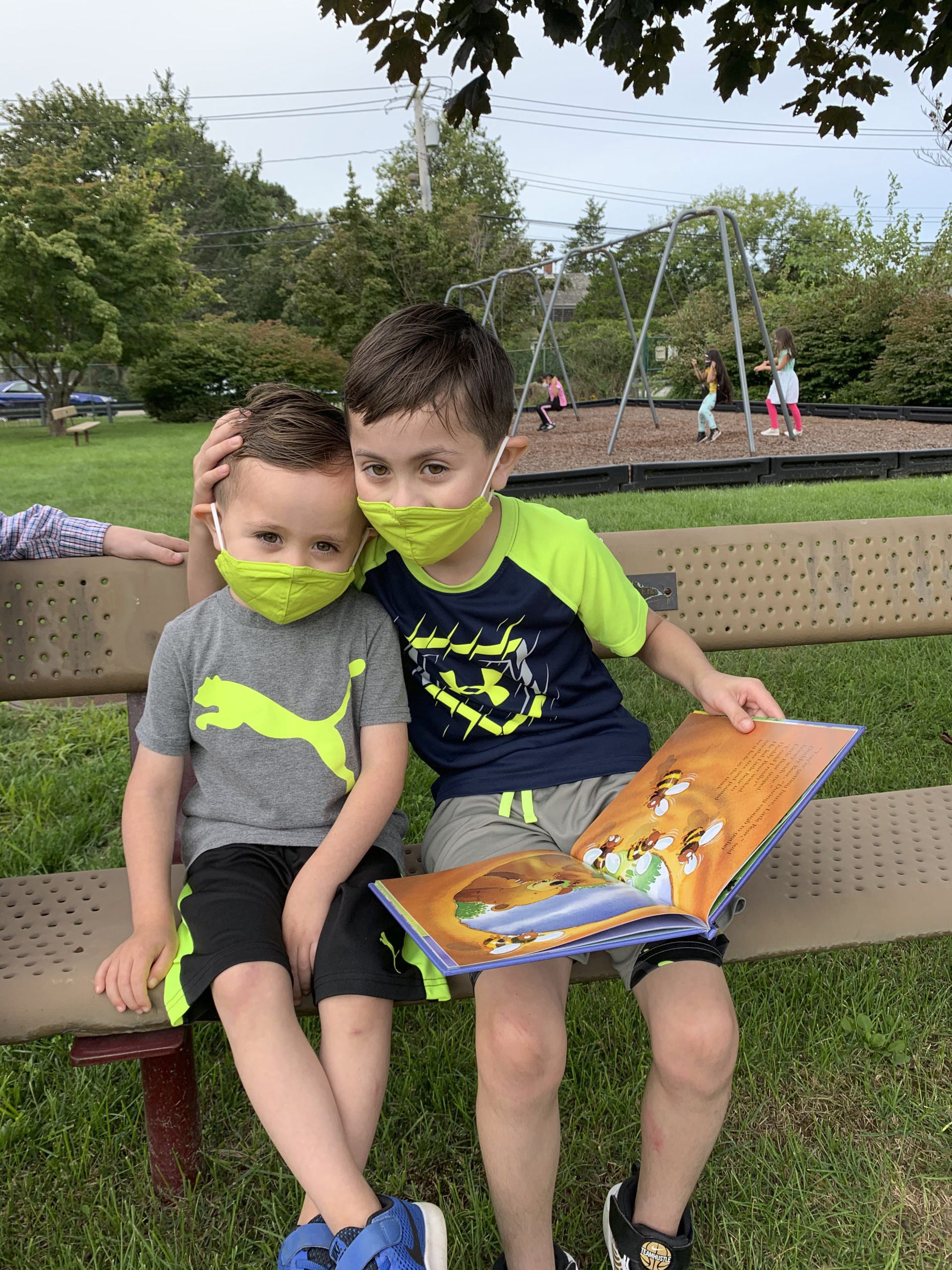 Tuckahoe School Pre-K student, Elijah Quezada Woodall and his big brother, Jaiden Quezada Woodall back at school. Courtesy Tuckahoe Common School District