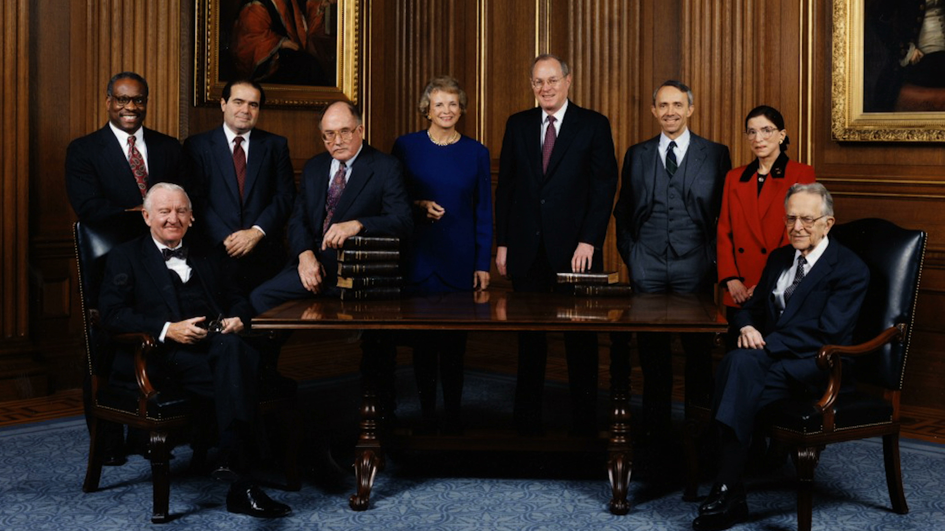 """The Supreme Court Justices, c. 1993, in """"RBG,"""" a Magnolia Pictures release. Justice Ginsburg is standing right. Photo courtesy of Magnolia Pictures/CNN Films."""
