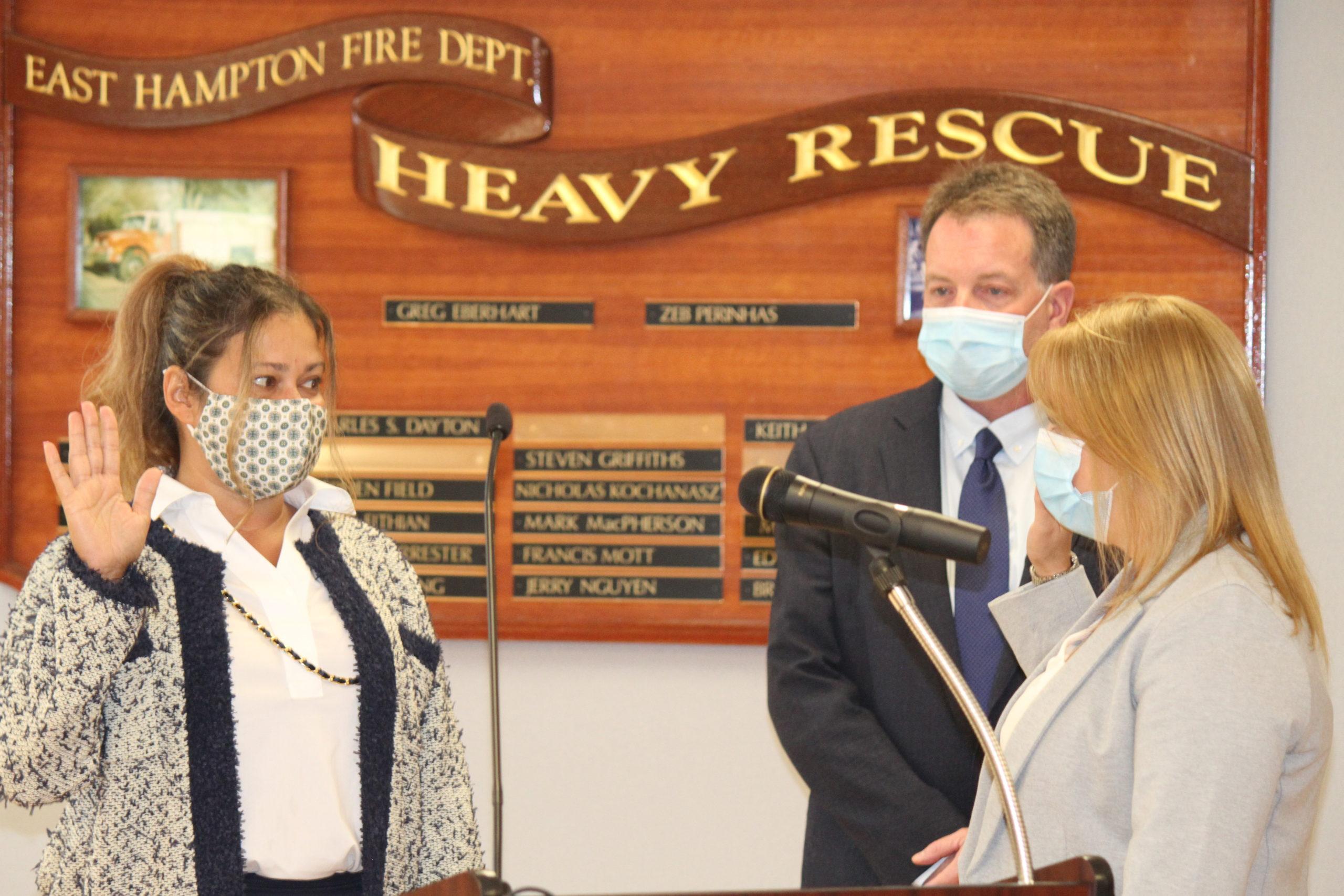 Sandra Melendez is sworn in as an East Hampton Village trustee on Friday.