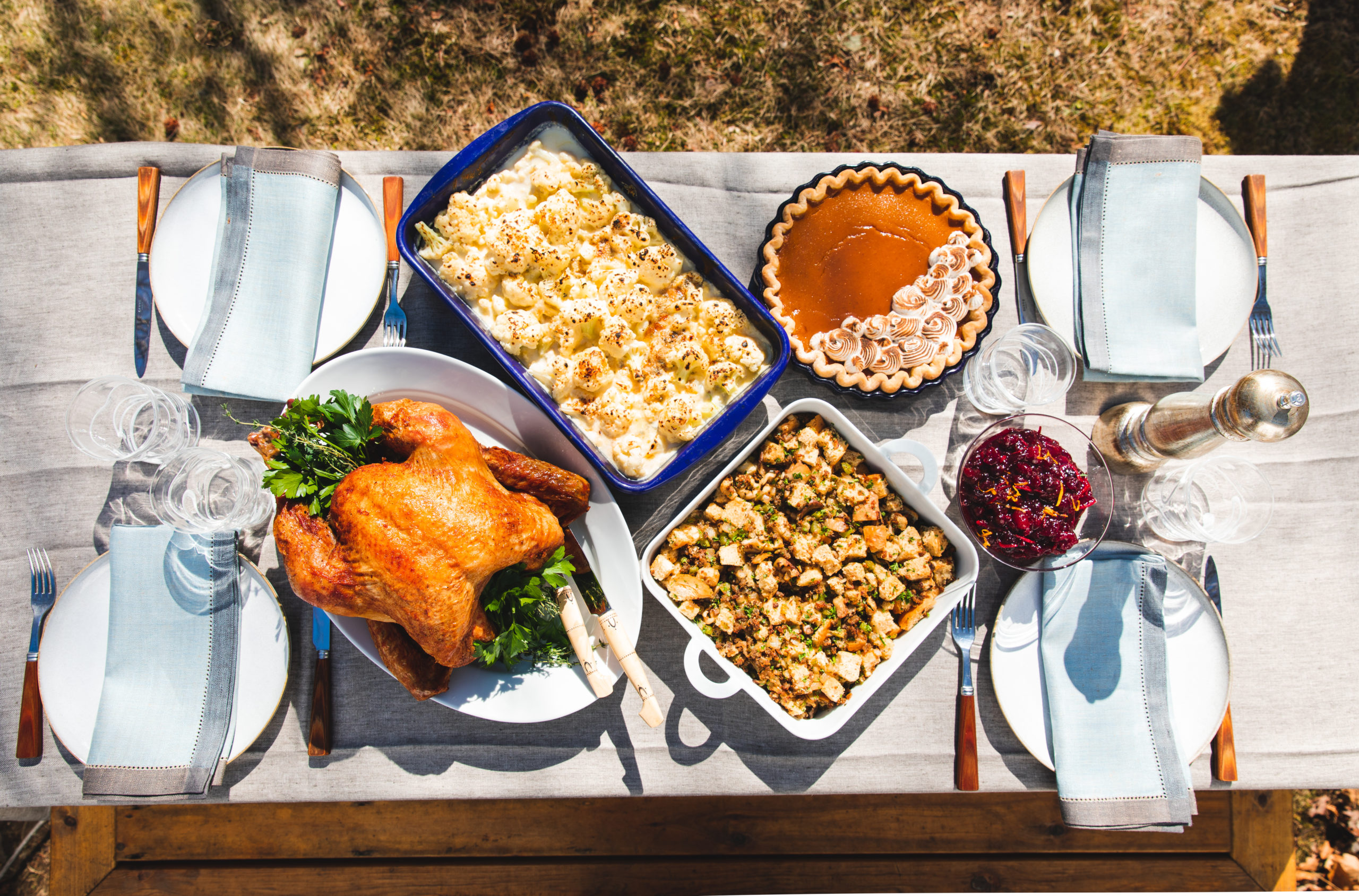 A Thanksgiving table setting.