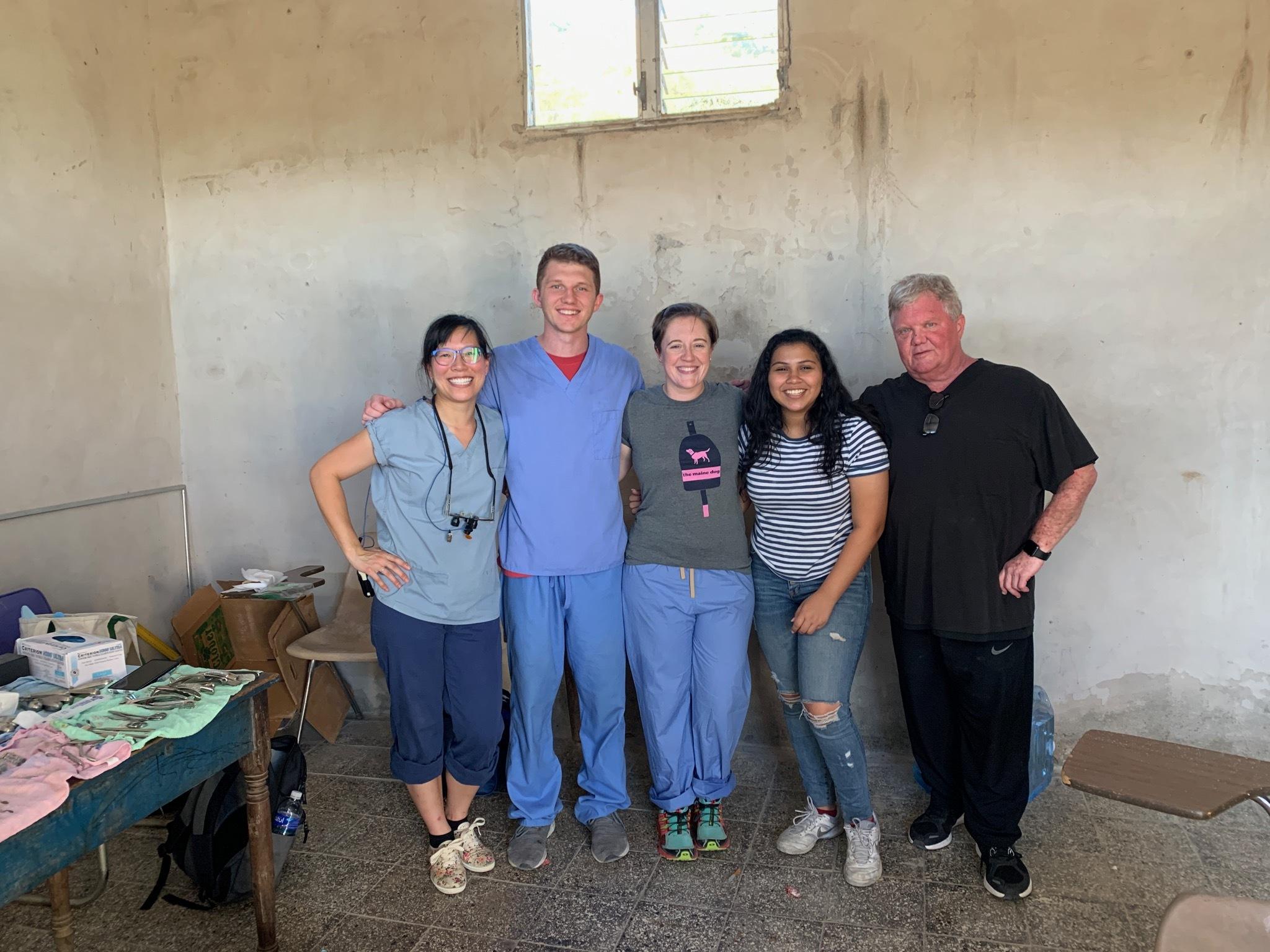 Rev. Vanessa Winters, of the Westhampton Presbyterian Church, with the dental team at the village of Juan Orlando.