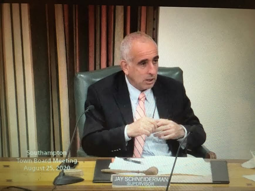 Southampton Town Supervisor Jay Schneiderman offered a coronavirus update duing the Town Board's September 10 work session.