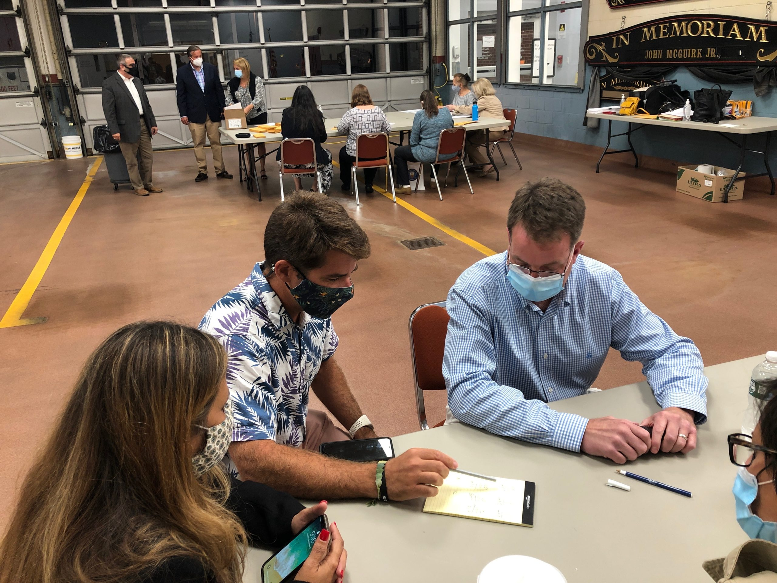 Jerry Larsen, right, and his running mates Chris Minardi and Sandra Melendez won a sweeping victory in the East Hampton Village Board elections on Tuesday night.