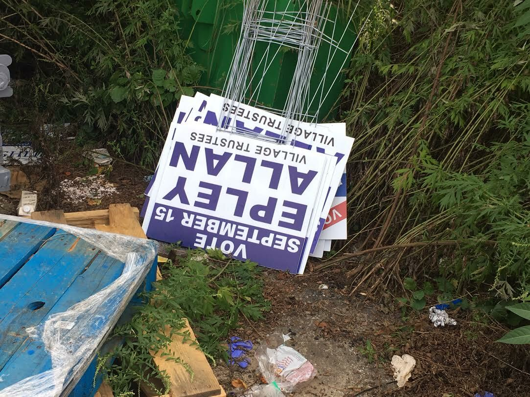 DPW staff collected over two dozen improperly places political signs. KITTY MERRILL