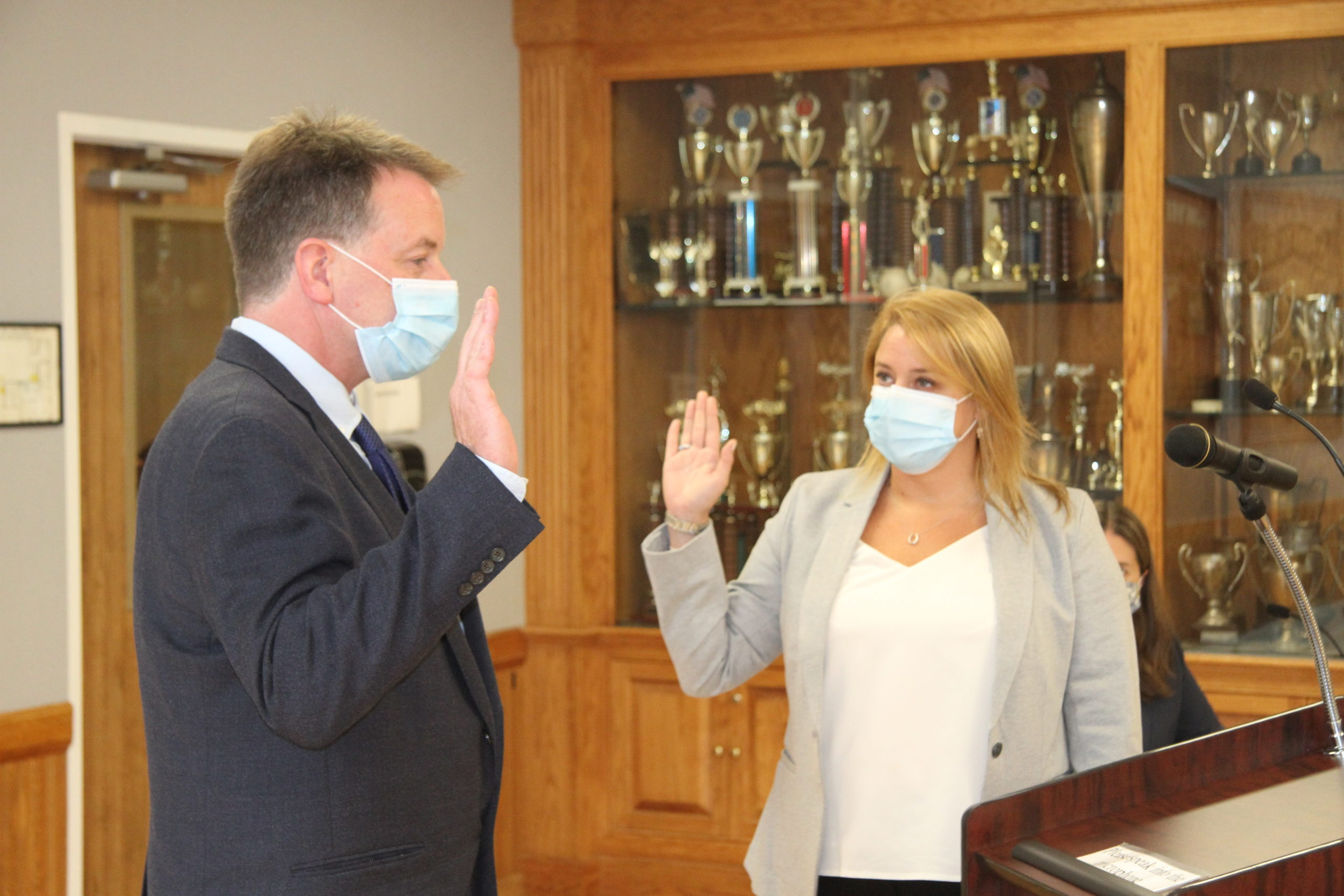 Jerry Larsen is sworn in as East Hampton Village mayor on Friday by Villlage Administrator Becky Molinaro.