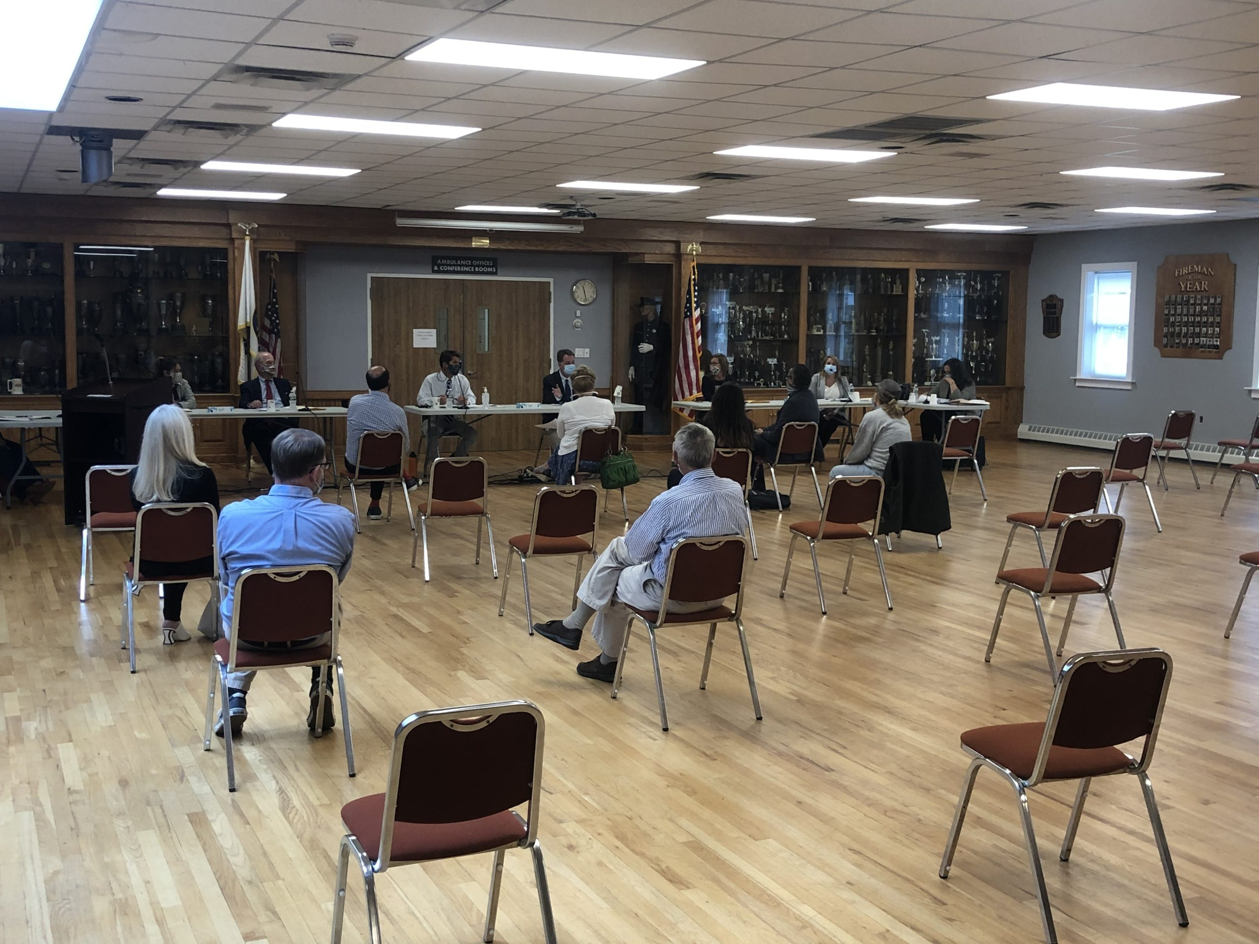 Social distancing precautions were in place at the first in-person government meeting in East Hampton since March.