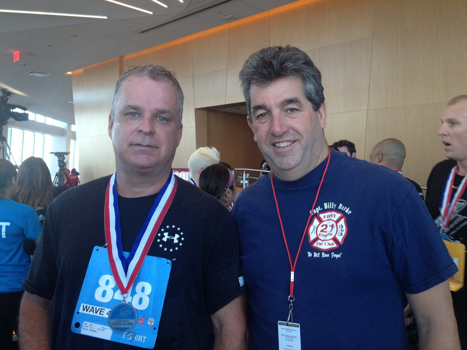 James Burke with Mike Burns, an FDNY firefighter who was with Billy Burns  and survived after the heroic firefighter order him and his other men out of the North Tower.  COURTESY JAMES BURKE