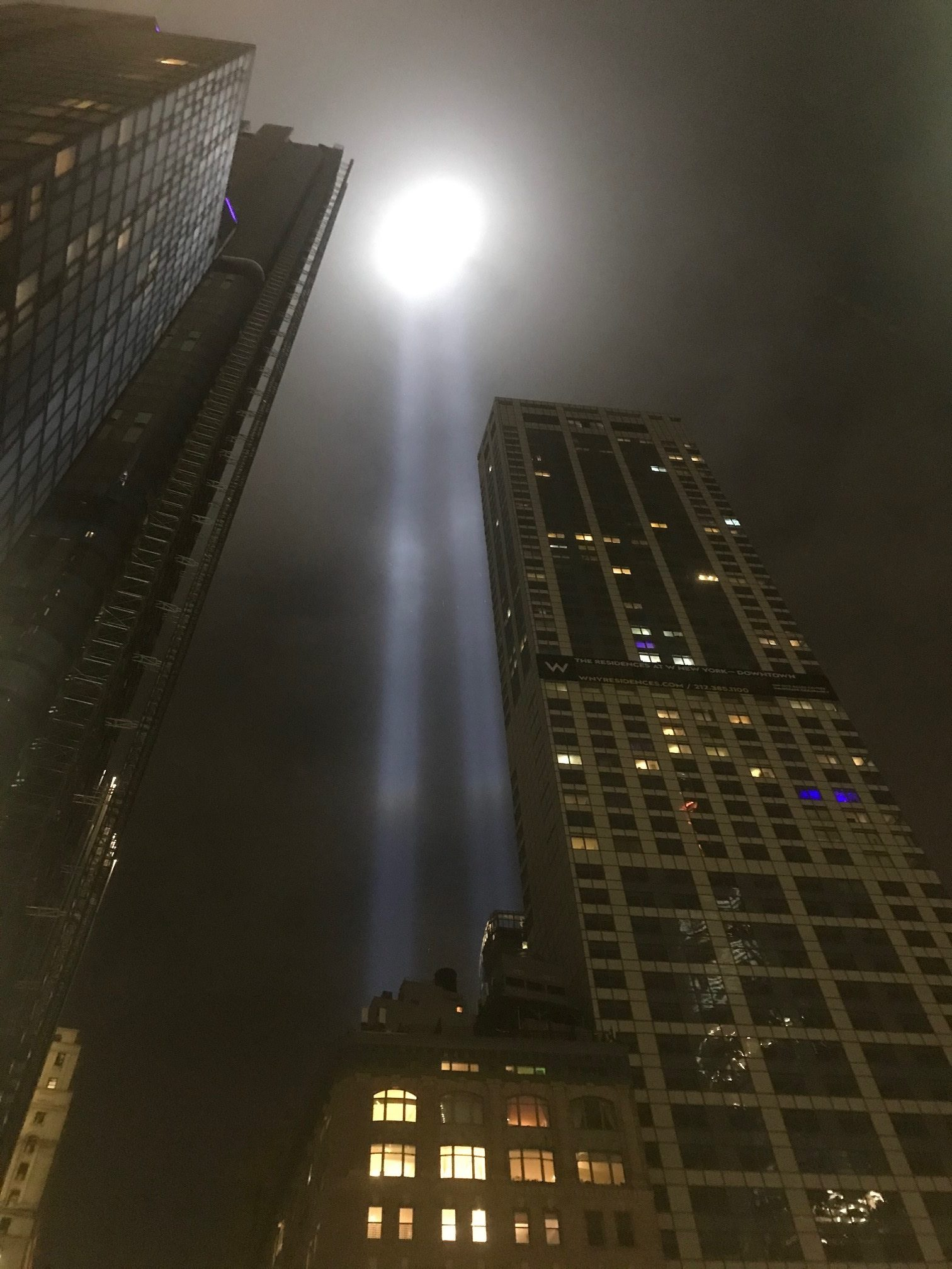 Lights in New York City Thursday night, honoring those killed in the September 11, 2001 terrorist attacks. COURTESY JAMES BURKE