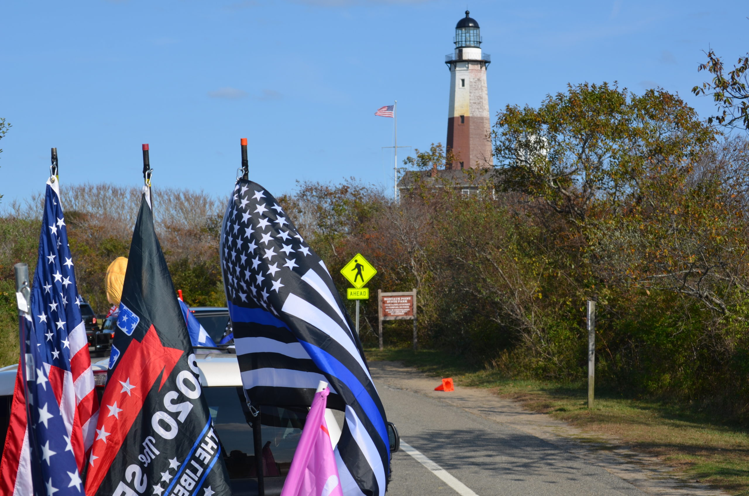 The parade passes the Montauk lighthouse on Octber 18.
