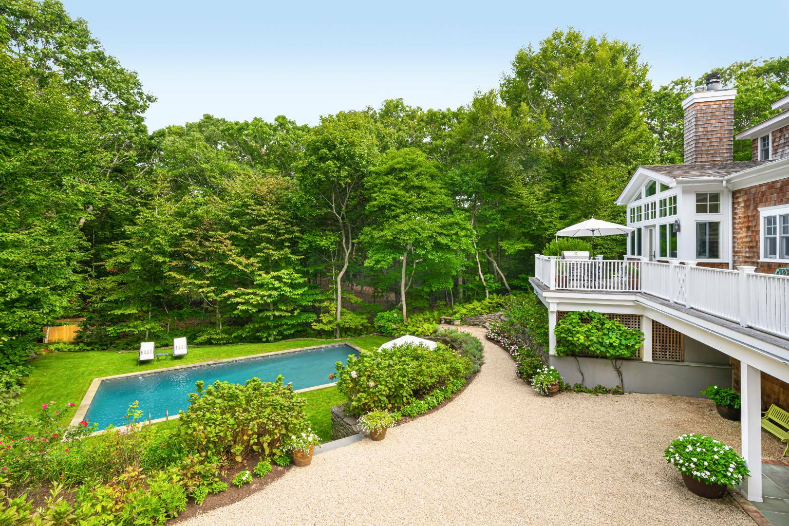 The house and gardens at 6 Catulpa Place, built on a kettle hole.