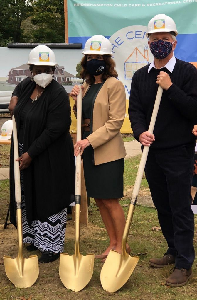 Bridgehampton Child Care and Recreational Center Executive Director Bonnie Cannon with Lt. Governor Kathy Hochul and Assemblyman Fred Thiele at the Center's groundbreaking last weekend.