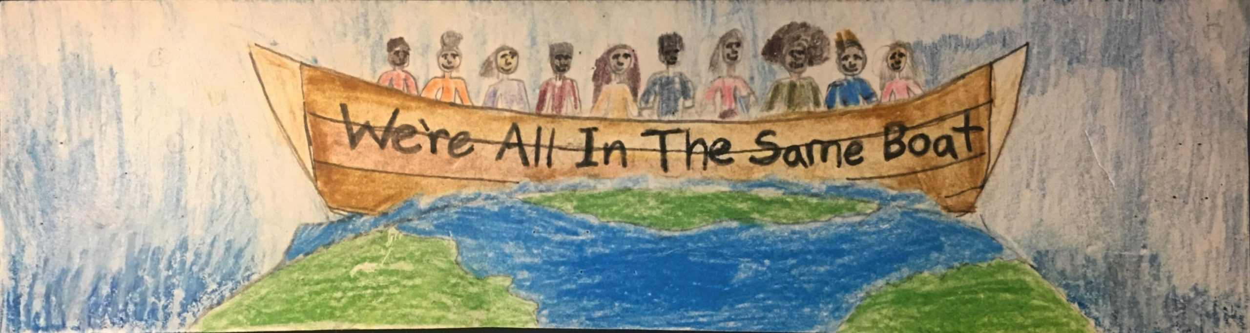 "Caption: Springs School student Zan Karoussos was the overall winner of the East Hampton Town Anti-Bias Task Force Bumper Sticker Contest with his ""We Are All in the Same Boat"" submission."