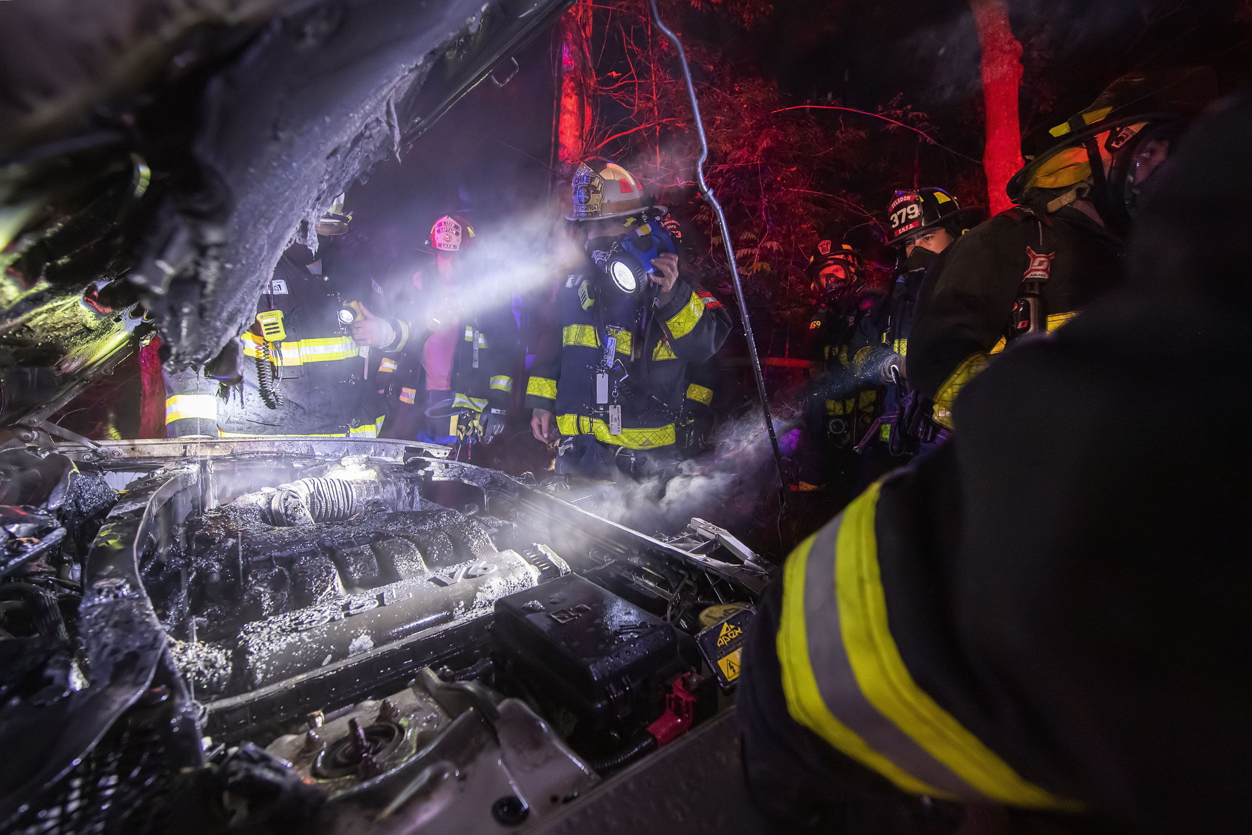 The East Hampton Fire Department responded to a car fire on Friday night.