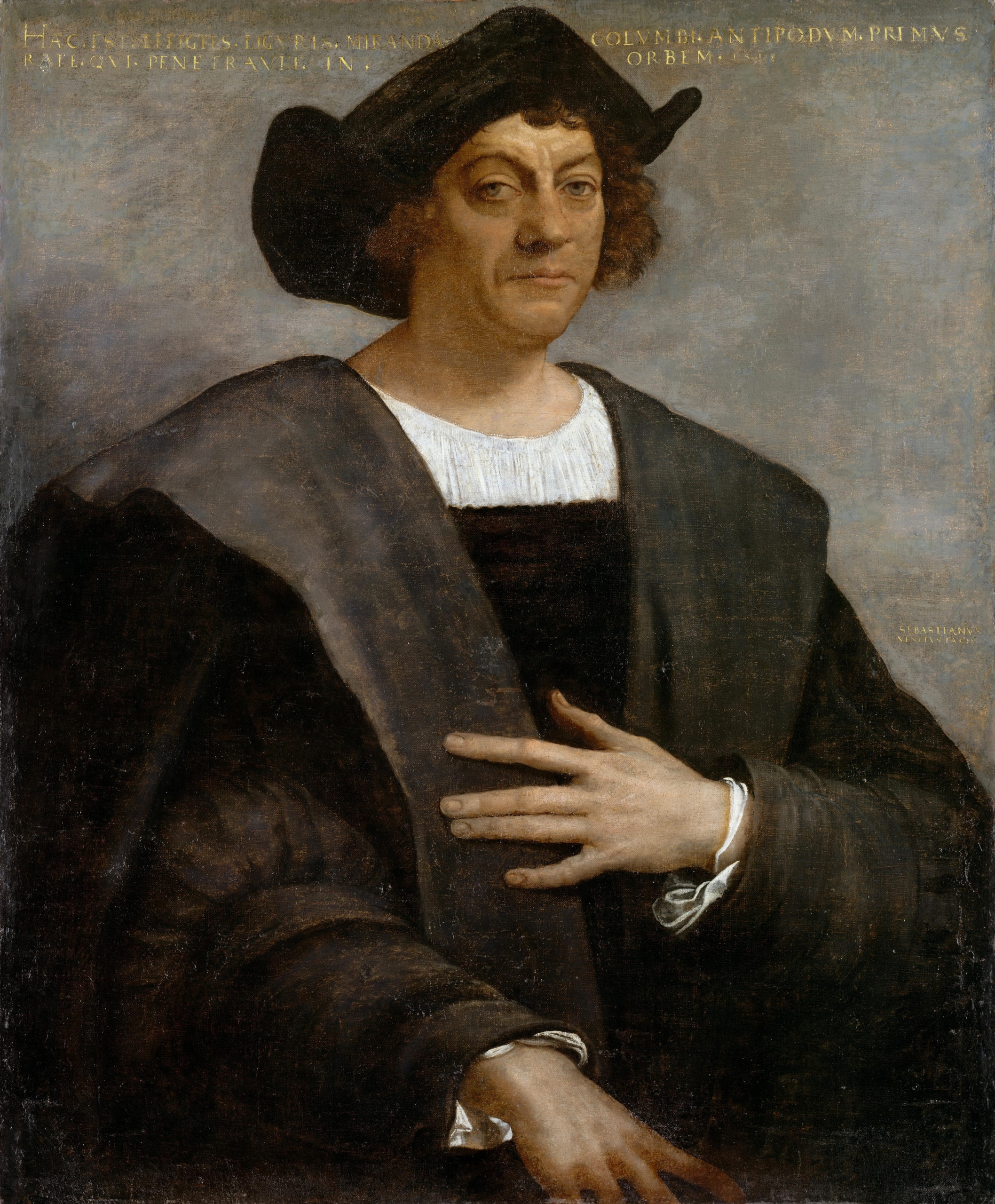 A posthumous portrait of a man said to be Christopher Columbus by artist Sebastiano del Piombo in 1519.