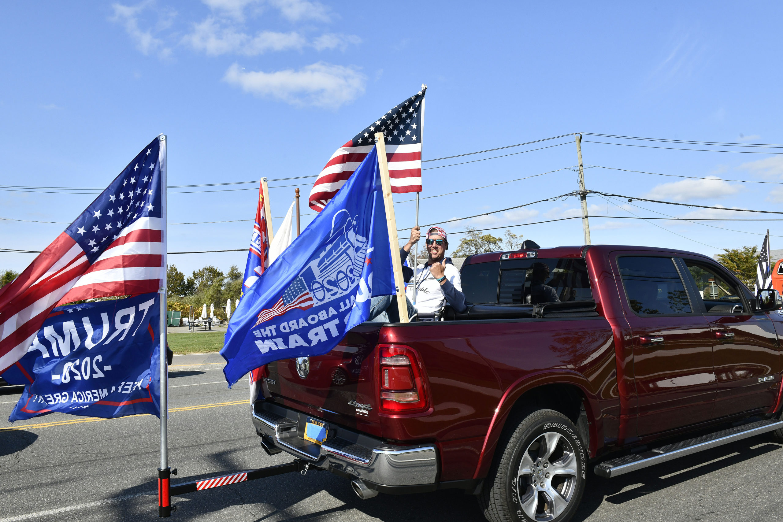 The corner of Couty Road 39 and Montauk Highway on Sunday afternoon.   DANA SHAW