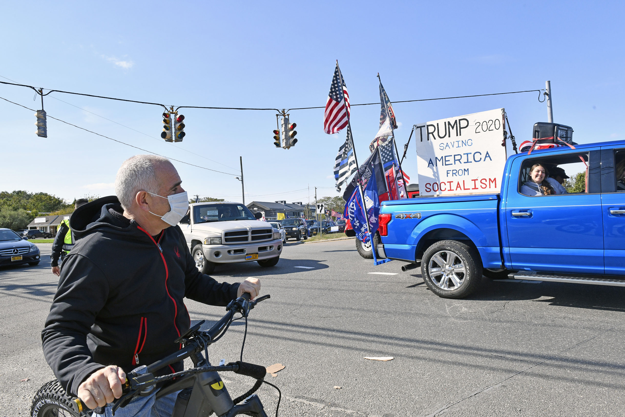 Southampton Town Supervisor Jay Schneiderman watches as the
