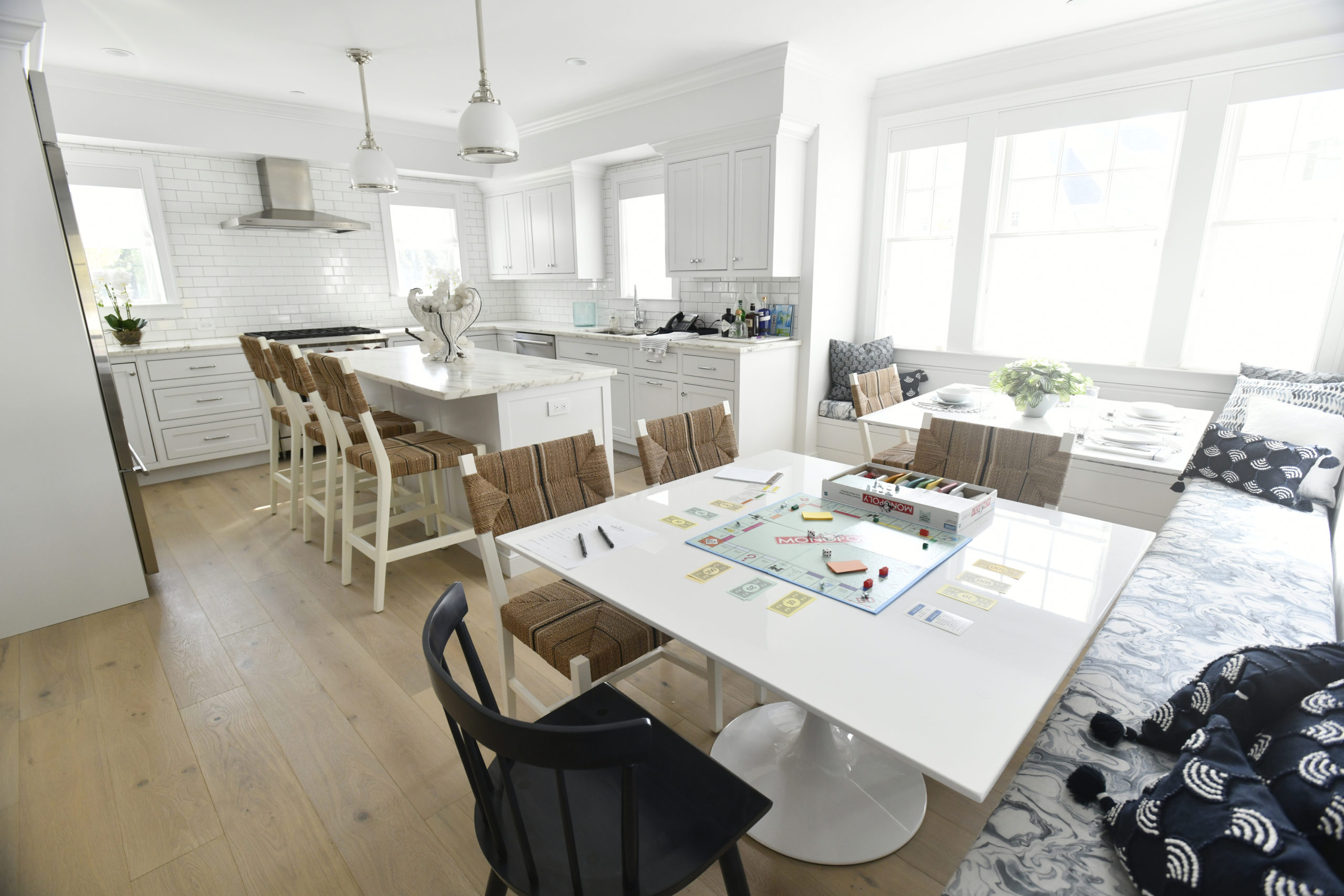 The kitchen and dining area of the three-bedroom unit at Hampton Boathouses. DANA SHAW