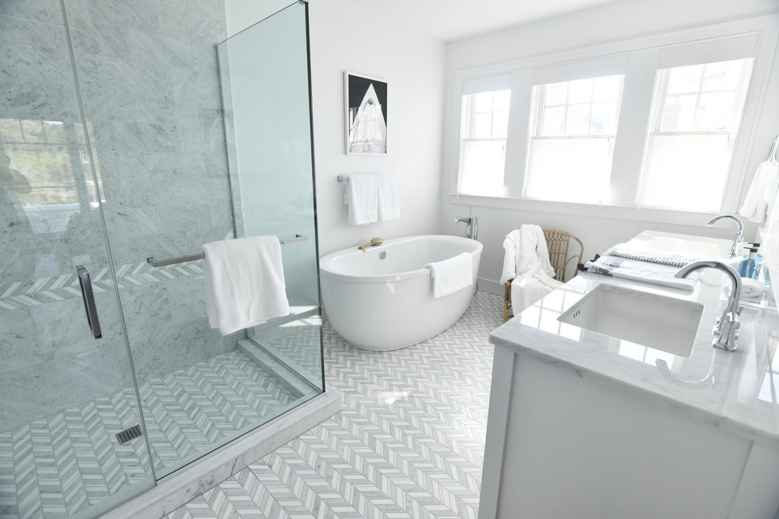 The master bathroom in the three- bedroom unit.  DANA SHAW