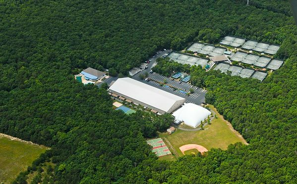 An aerial view of the East Hampton Indoor Tennis facilities.