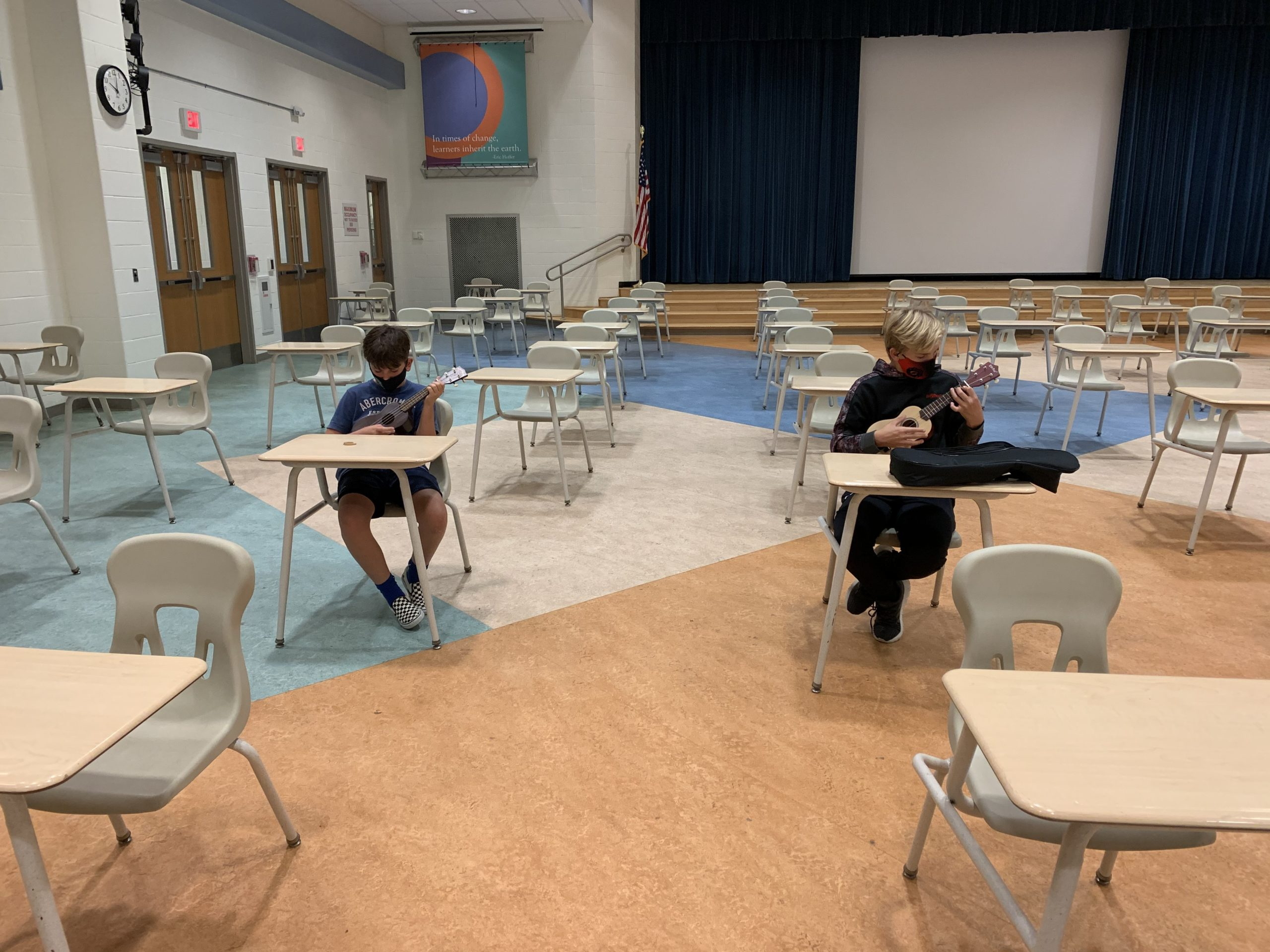 Hampton Bays Middle School students are learning to play the ukulele as part of a new music program.