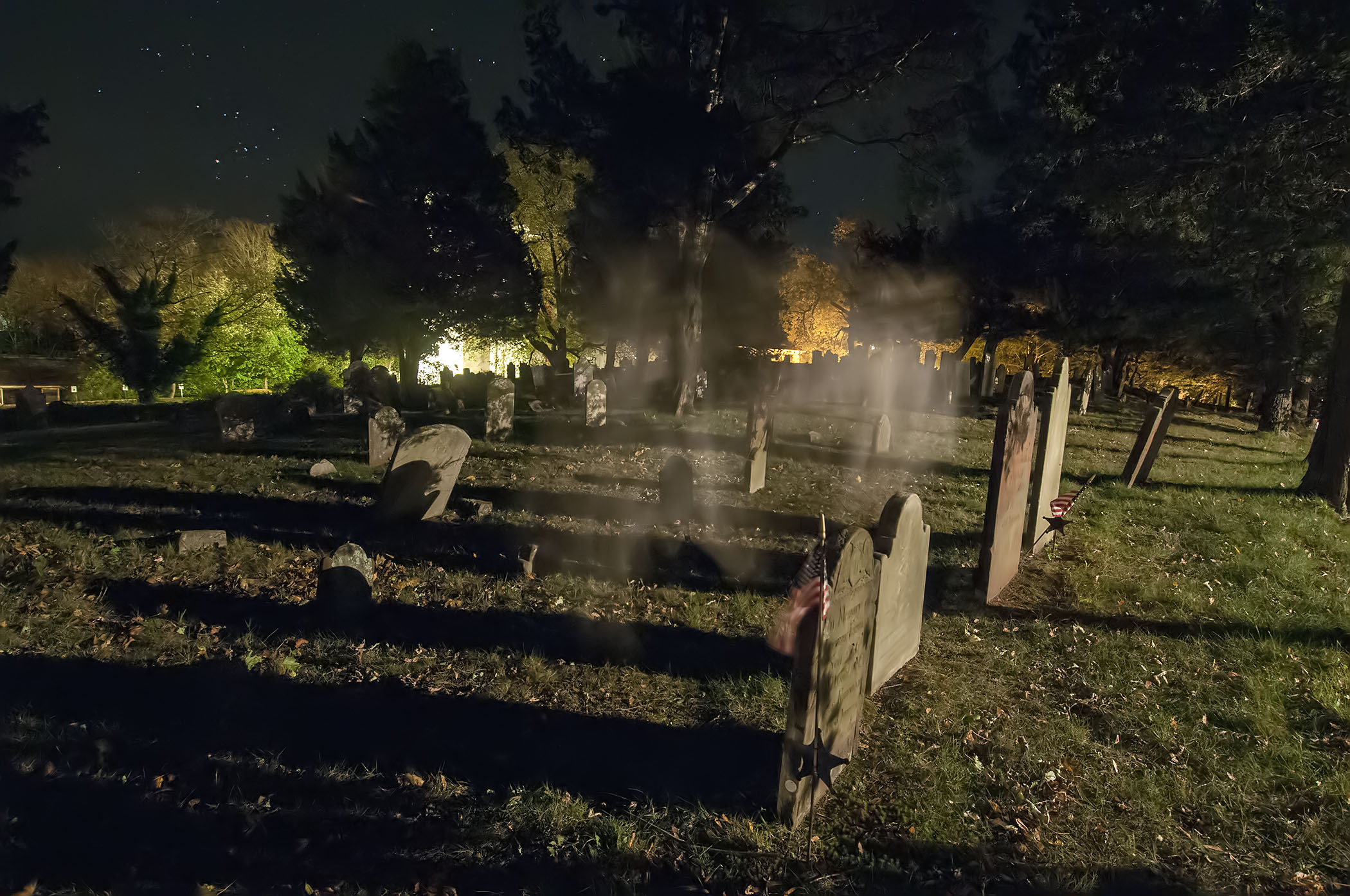 A spooky shot of the Old Burying Ground in Sag Harbor.
