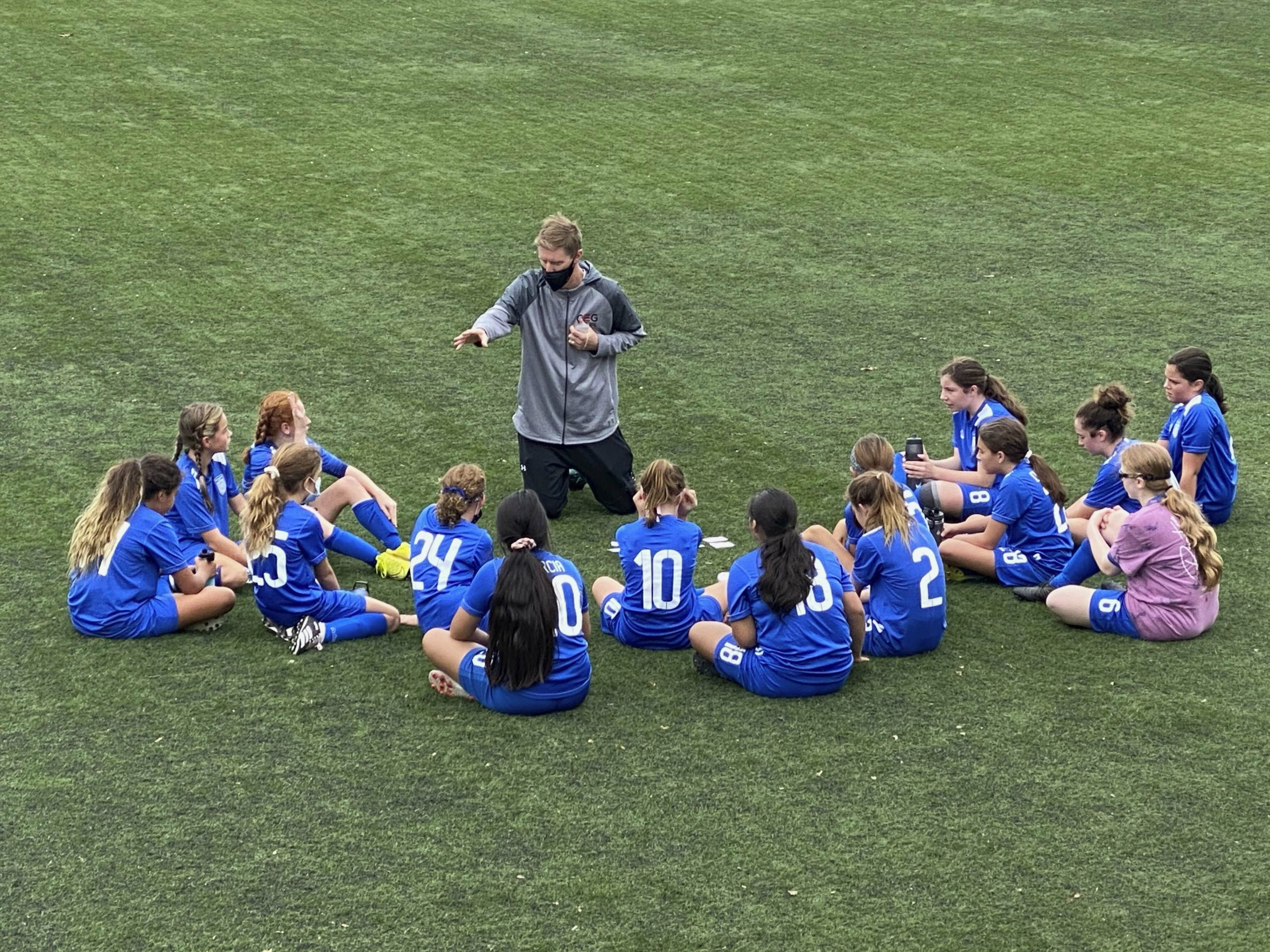 Southampton Soccer Club Executive Director Andreas Lindberg (center) has been able to spend more time coaching this fall, shown here with the club's 2008 girls travel team, after fall seasons for collegiate sports were postponed due to the virus. In addition to his duties with the club, Lindberg, an East Quogue resident, is also the head coach of the Division I Seton Hall University men's soccer team, which is now hoping to play in the spring.