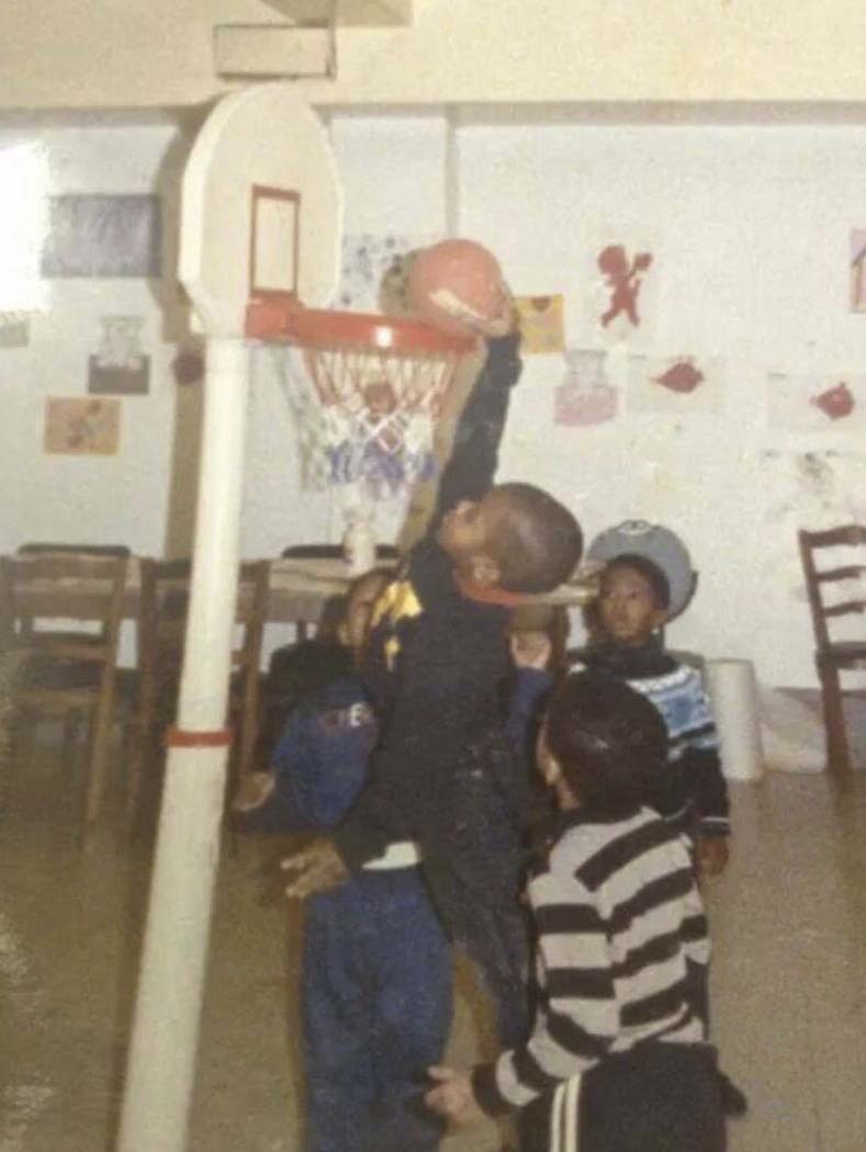 Courtney Pritchard going up against his peers in day care in Southampton as a youngster.