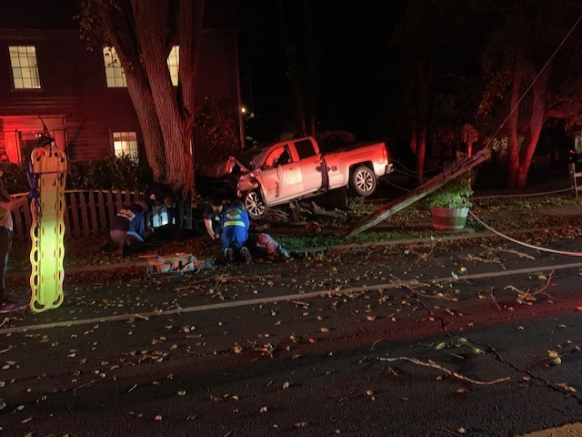A 22-year-old Sag Harbor man ran a truck off the road on Saturday night and nearly struck a residence.