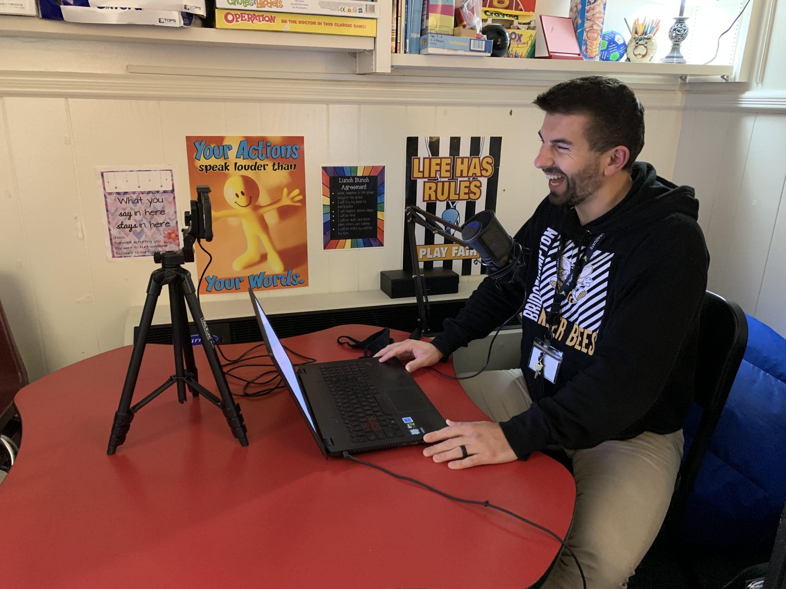 Elementary school guidance counselor Ryan Barker is the host of the Bridgehampton School's morning announcements. COURTESY BRIDGEHAMPTON SCHOOL