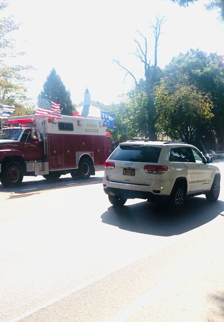 Brian Gilbride, the owner of a decommissioned Sag Harbor fire truck, was crticized when he drove the vehicle in a parade supporting President Trump on Sunday.