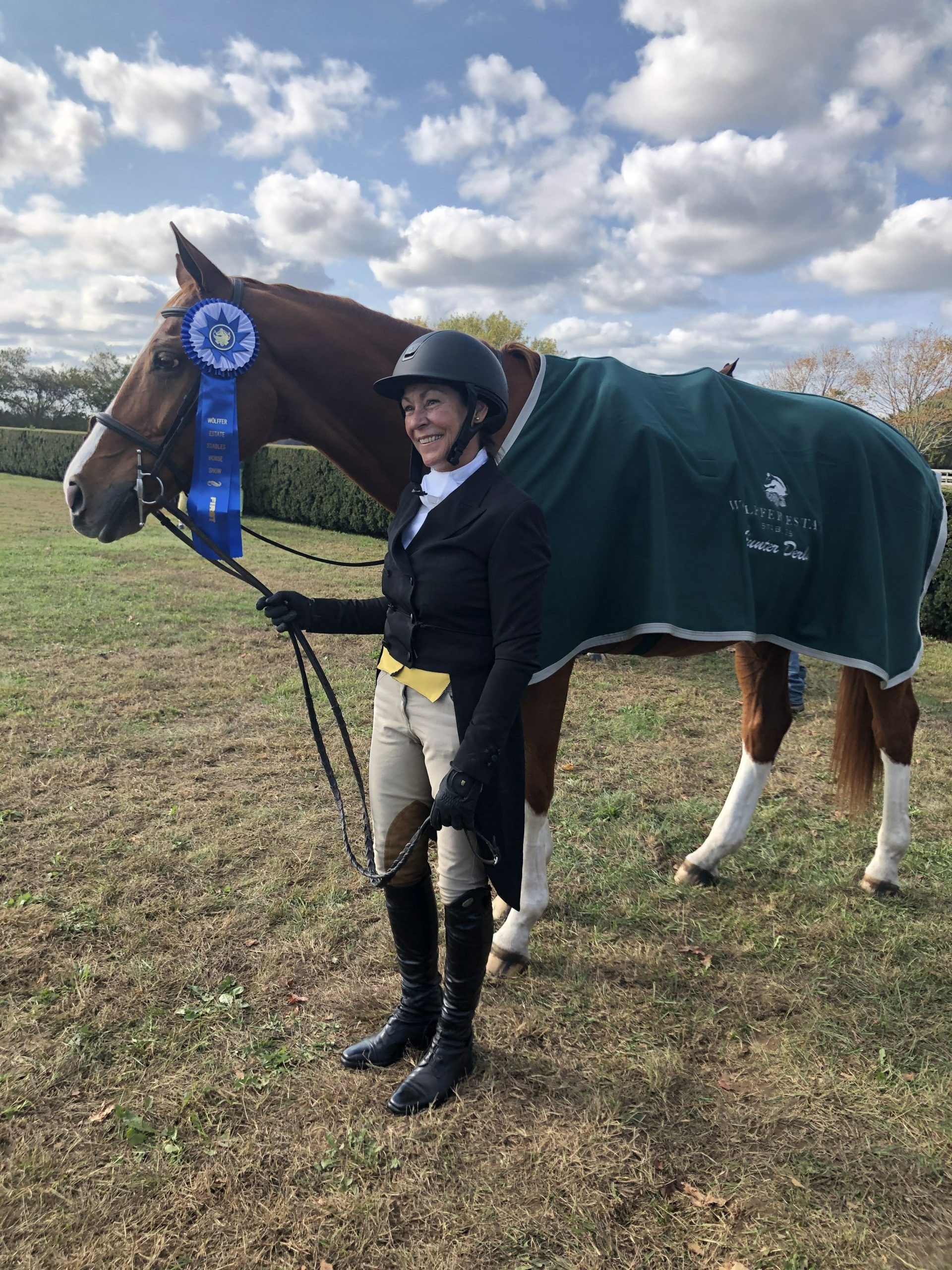 Deborah Thayer and her horse, Asterisk Z, won the 2'6-2'9 division at the Wolffer Hunter Derby on the Grand Prix field at Wolffer Estate Stables on Sunday. Thayer trains with Harriet deLeyer at Topping Riding Club.