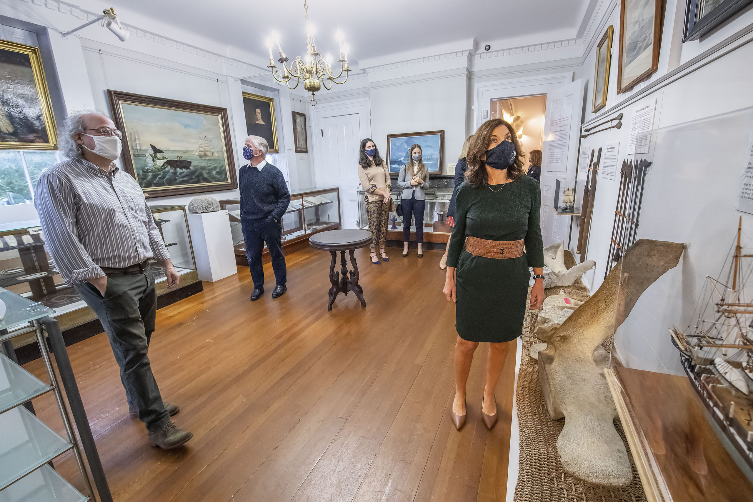 Sag Harbor Whaling Museum Richard Doctorow, at left, takes New York State Lt. Governor Kathleen Hochul on a guided tour of the museum on Saturday afternoon.   MICHAEL HELLER