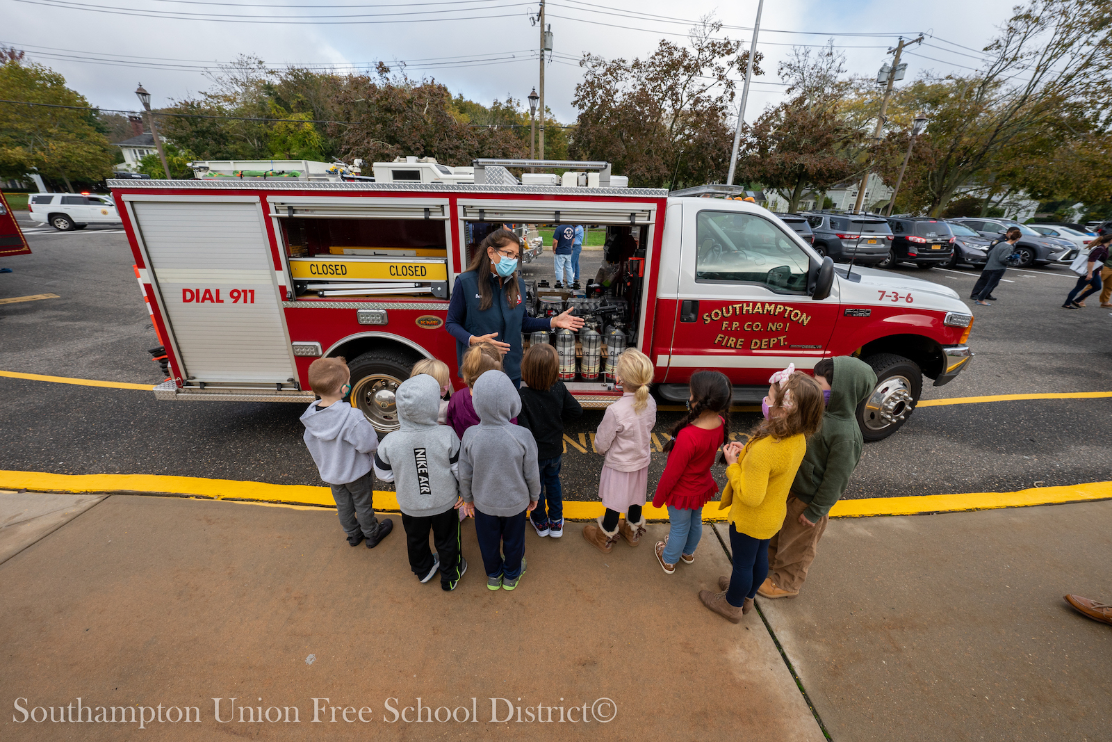 Southampton Elementary School students in grades pre-K to 3 learned about fire safety from the Southampton Fire Department on Oct. 22. During the visit, the students explored the fire department's equipment and heard from firefighters about safety protocols and fire safety.