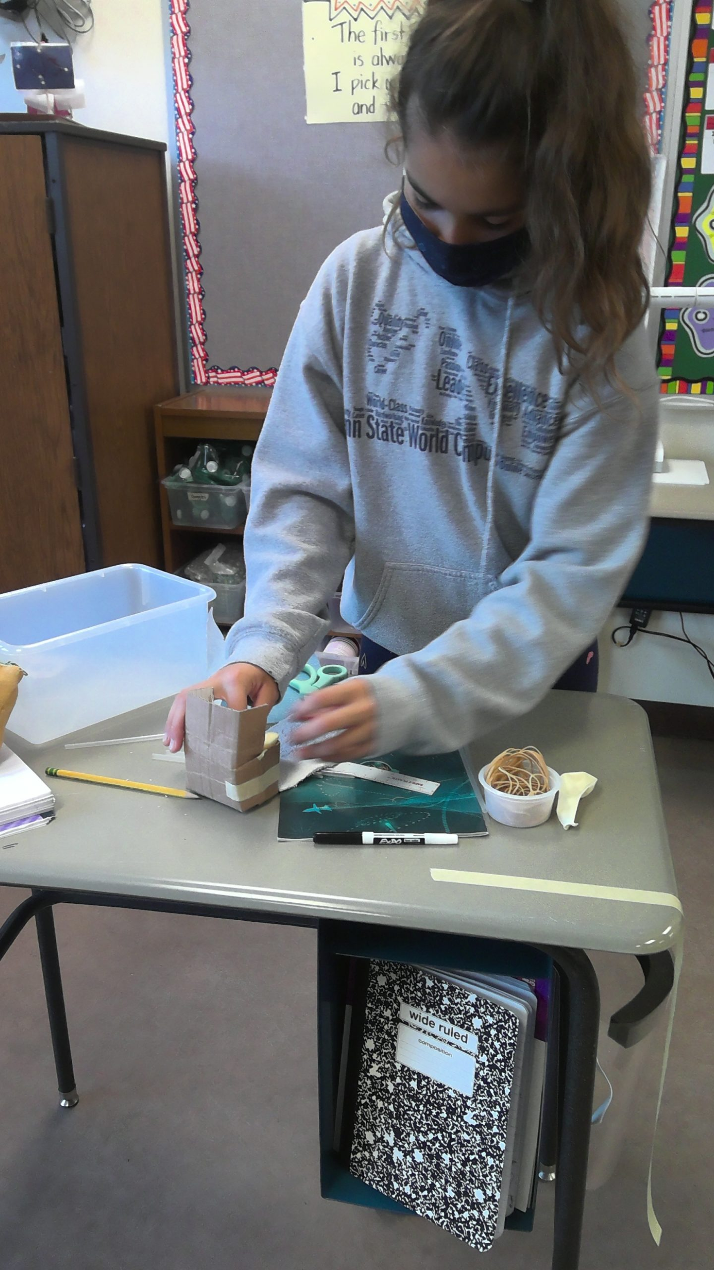 Students at the Tuckahoe School are learning about science through observation and experimentation. Students are applying the scientific method and the design process to design, build, and test an egg protection device. Testing and redesign will follow.