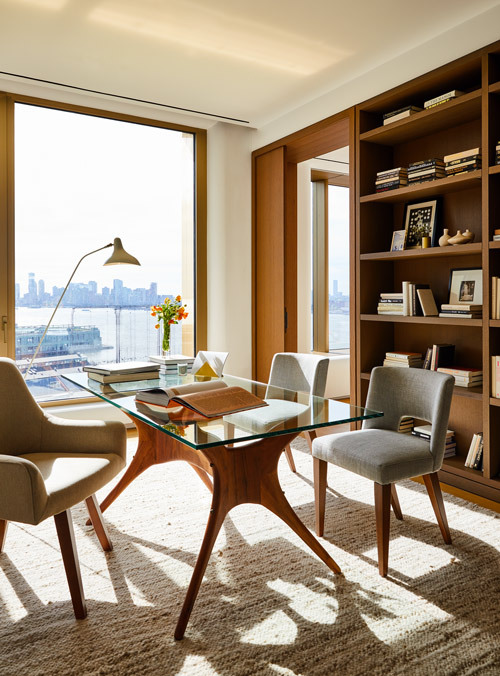 A polished home office fit for a bookish video call queen.