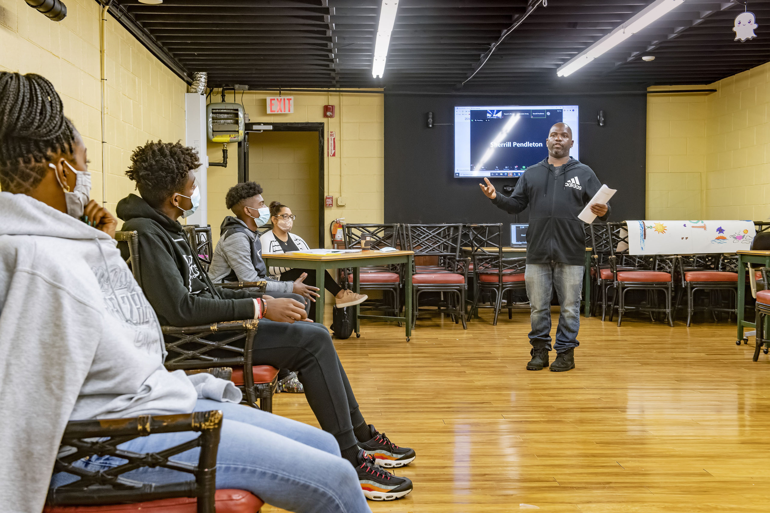 Willie Jenkins teaches a workshop on African/American History to a group of teens as part of the Zenith Youth Program at the Bridgehampton Child Care and Recreational Center on Friday evening.  MICHAEL HELLER