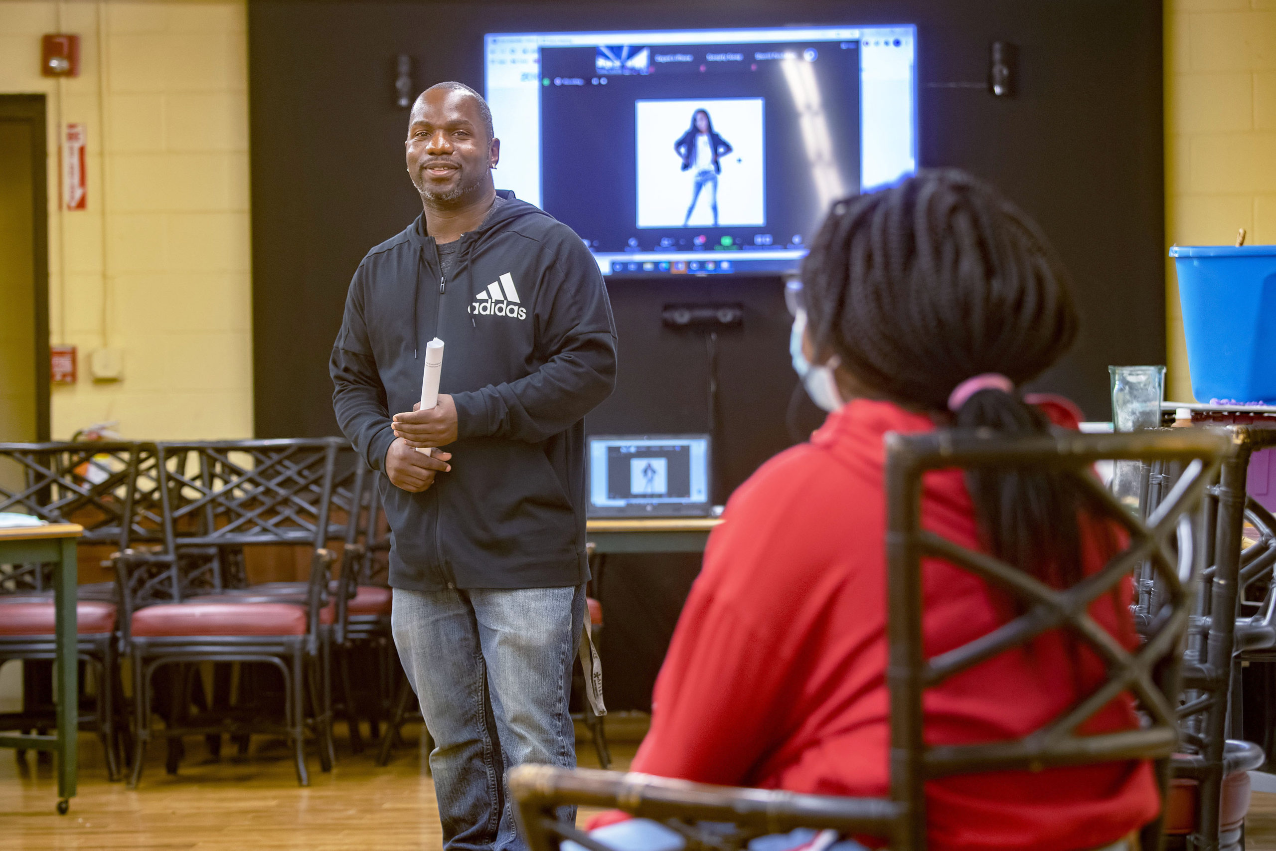 Willie Jenkins teaches a workshop on African American History to a group of teens as part of the Zenith Youth Program at the Bridgehampton Child Care and Recreational Center on Friday evening. MICHAEL HELLER