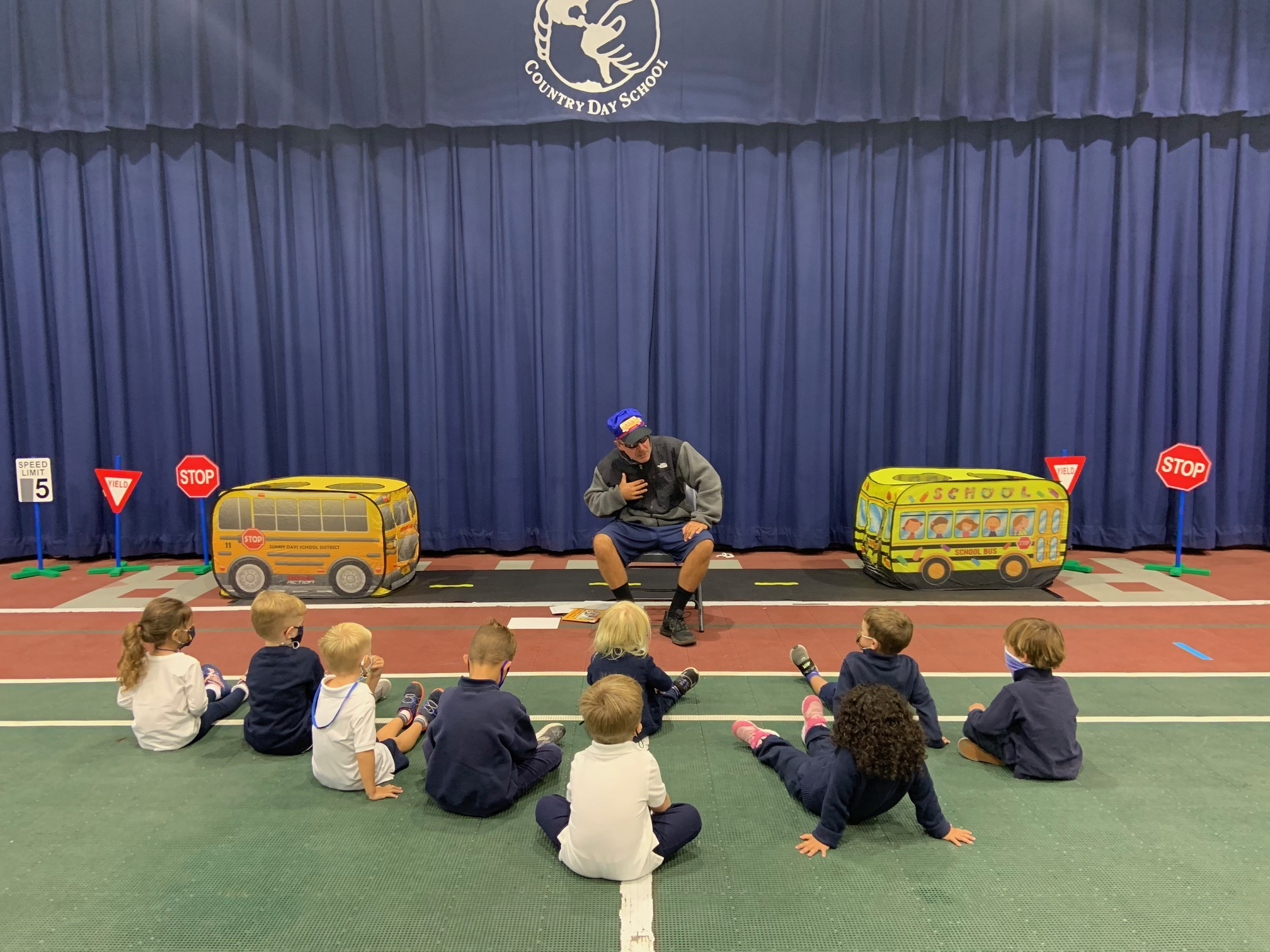 Raynor Country Day School students enjoy a Bus Safety presentation courtesy of Physical Education and Health teacher, Erik Broskie.