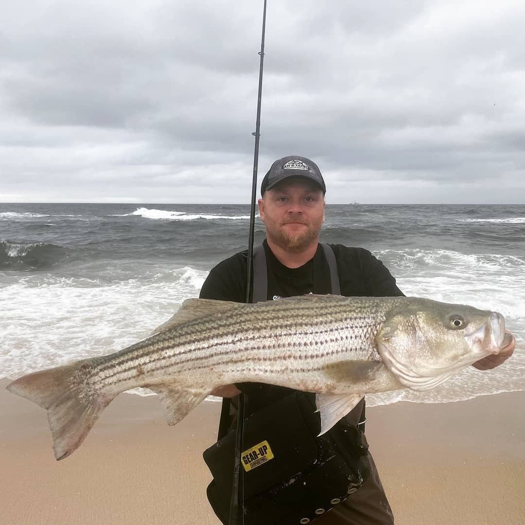 Derek Monfort got in on some of the good striped bass fishing along local beaches over the weekend.