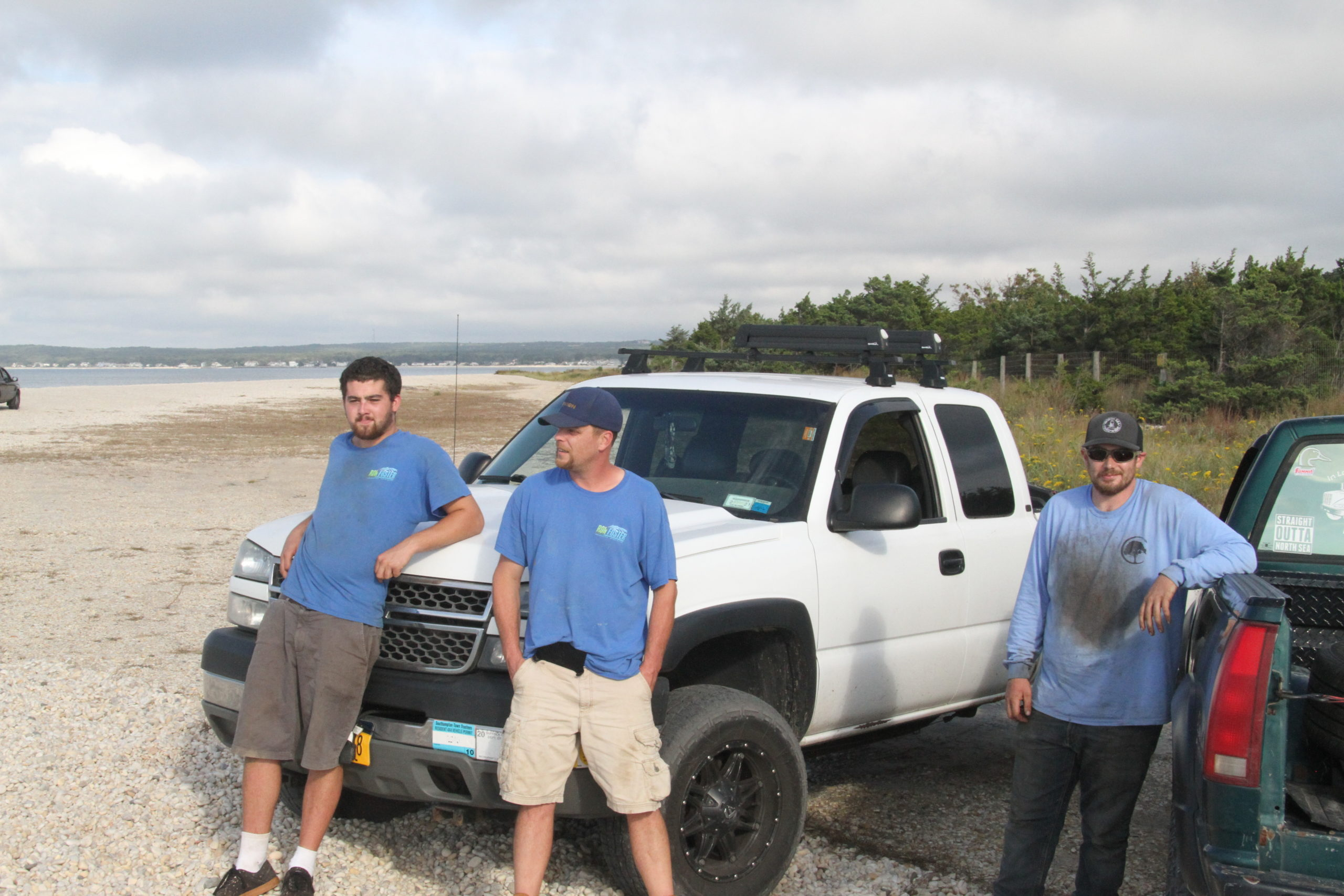 Liam MacWhinnie, left, Todd Foster, center and Patrick McGay say they visit North Sea Beach in their 4x4 vehicles almost every day.