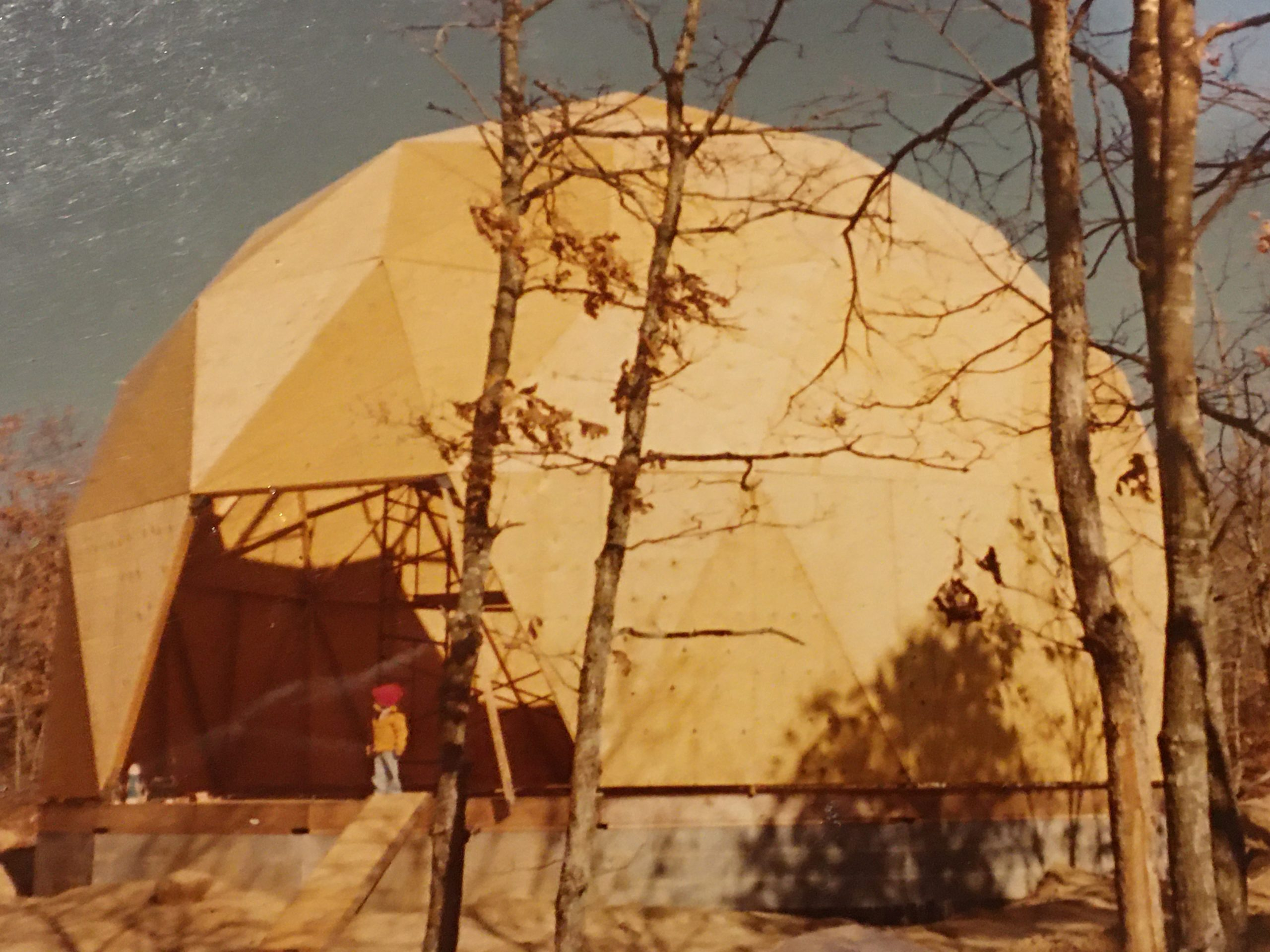 The frame of the dome, enclosed in plywood.