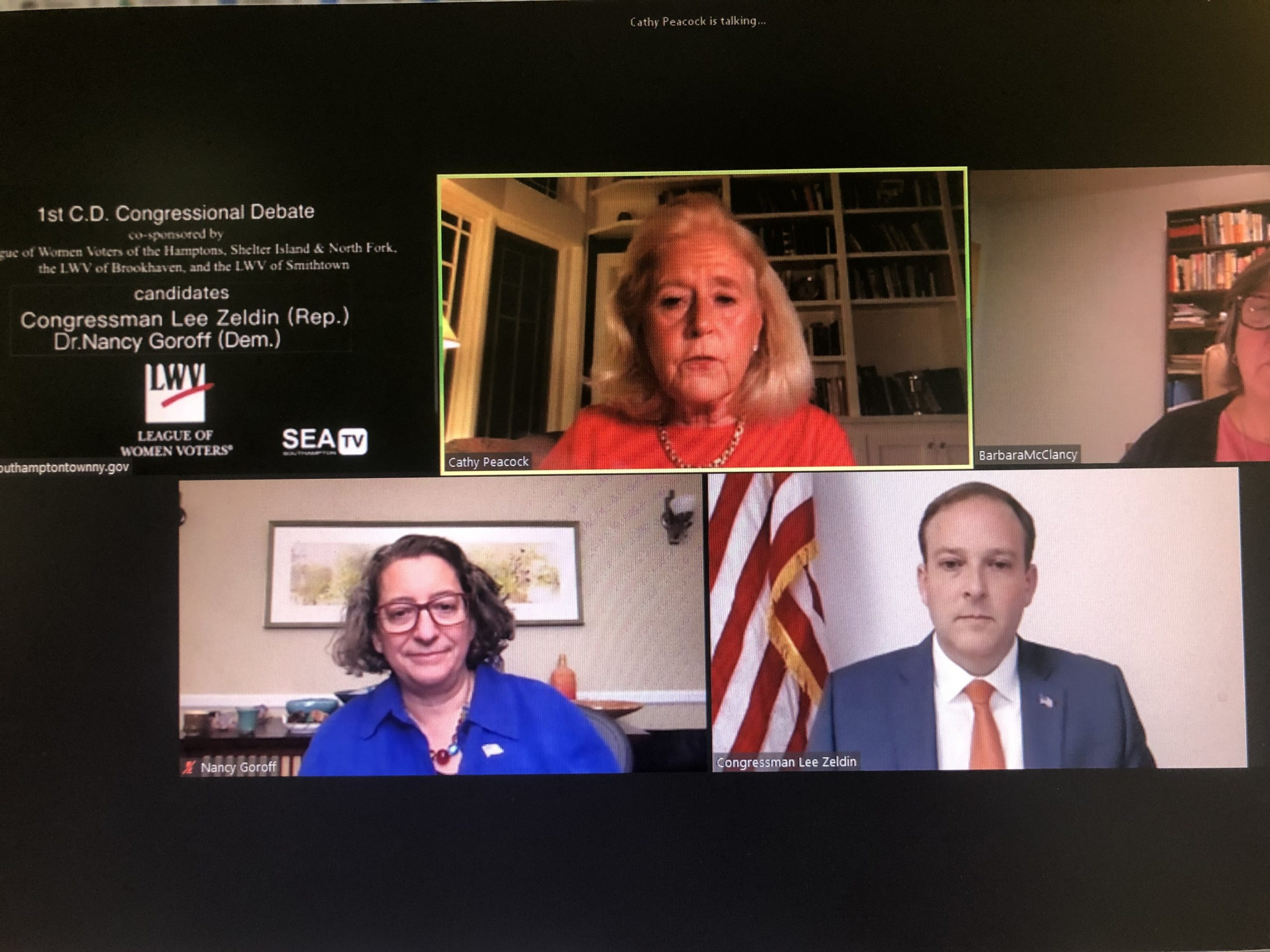 Dr. Nancy Goroff and U.S. Representative Lee Zeldin faced off in a debate on Monday evening on SeaTV.