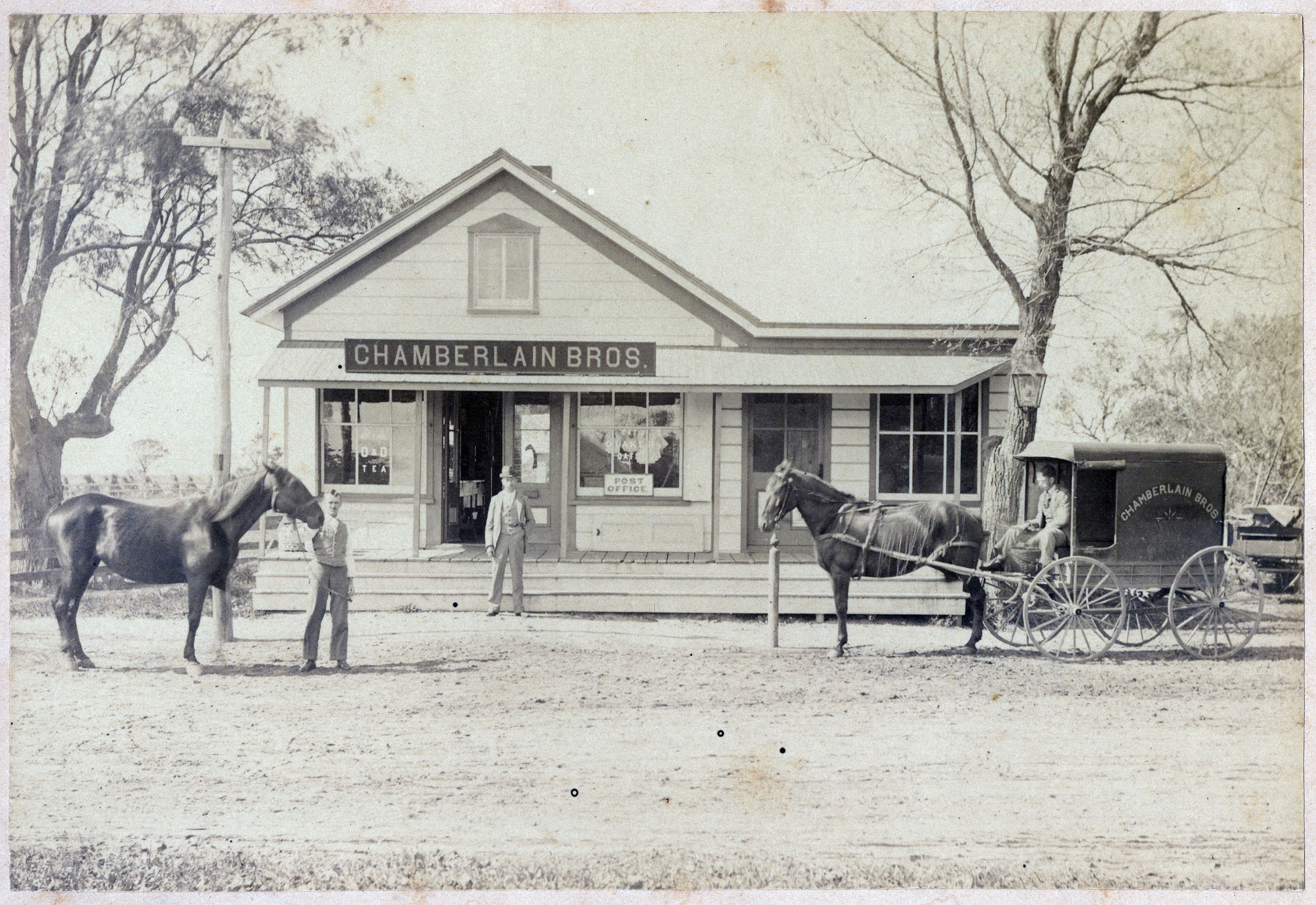 Sagaponack's general store was known as Chamberlain Brothers at the turn of the 20th century. The front of the building,as seen above,was later lifted and moved to the rear.                          COURTESY OF MERRALL HILDRETH