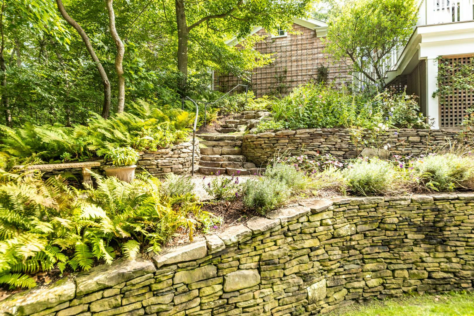 The gardens at 6 Catulpa Place, built on a kettle hole.