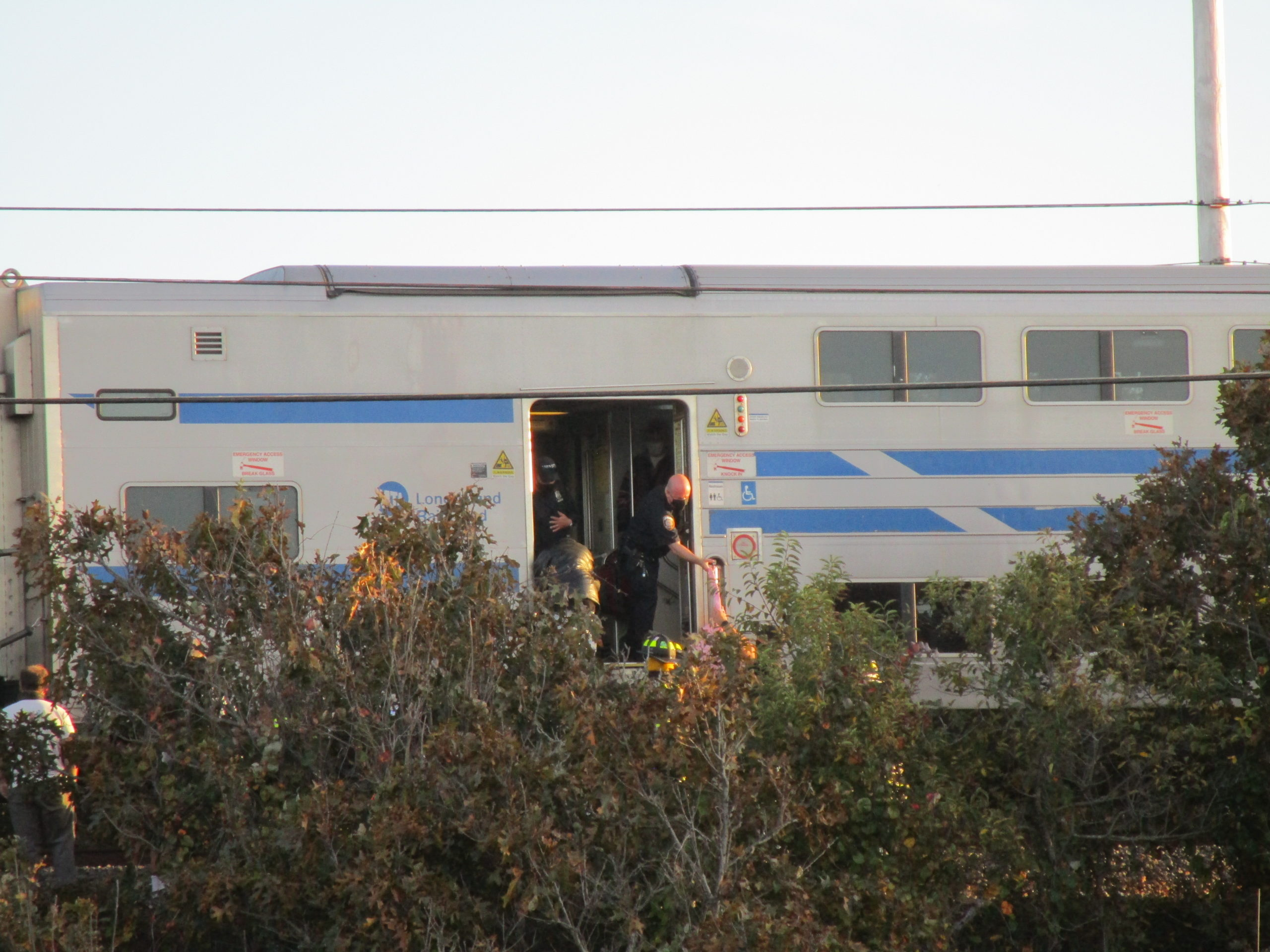 A Long Island Rail Road train stalled near Navy Beach in Montauk, about a mile from its intended destination. The Montauk Fire Department had to be called out to help the 15 passengers aboard disembark via ladder on a steeply sloping track bed.